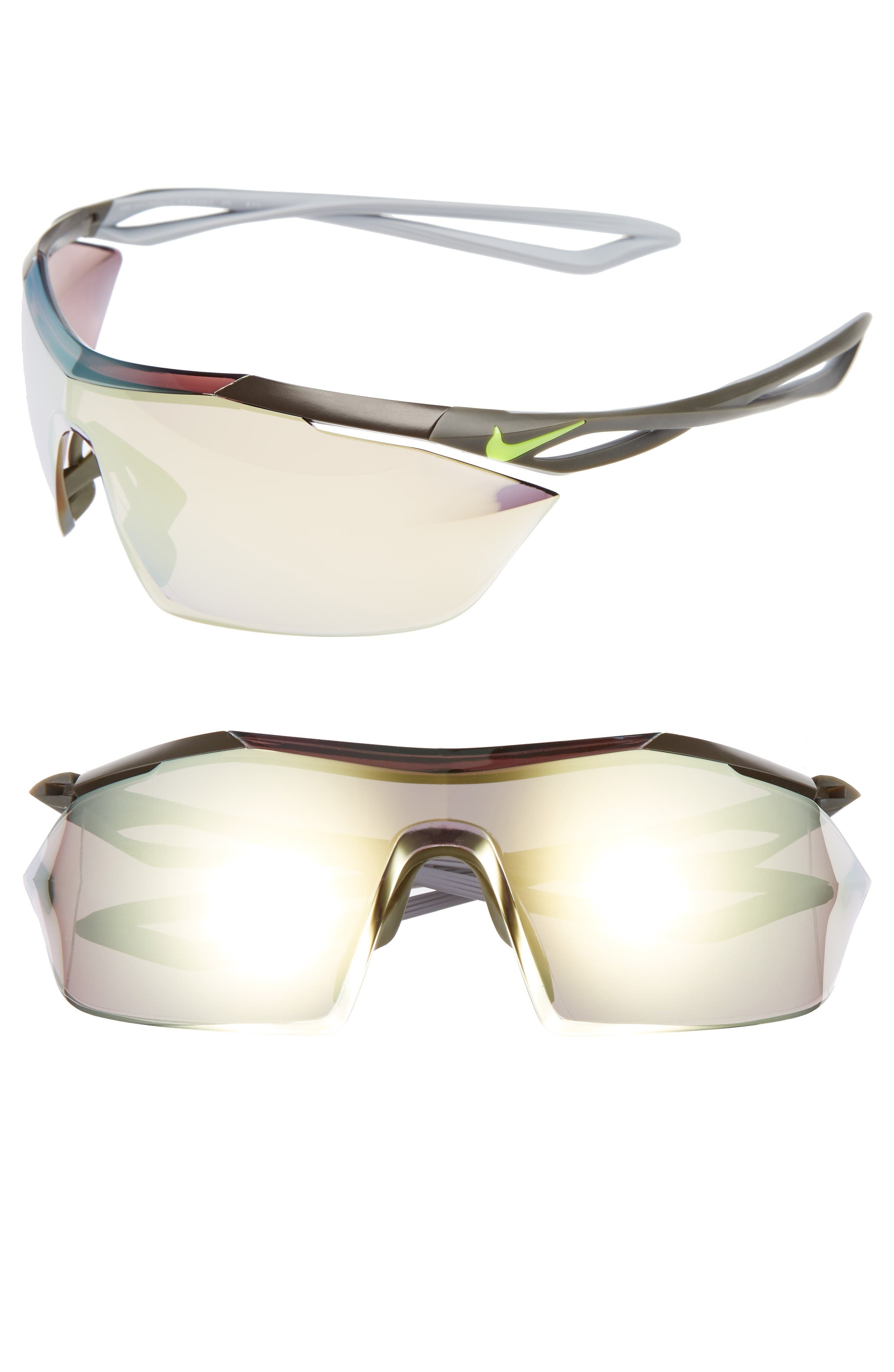 Vaporwing Elite 90mm Running Sunglasses,                         Main,                         color, Cargo Khaki/ Volt