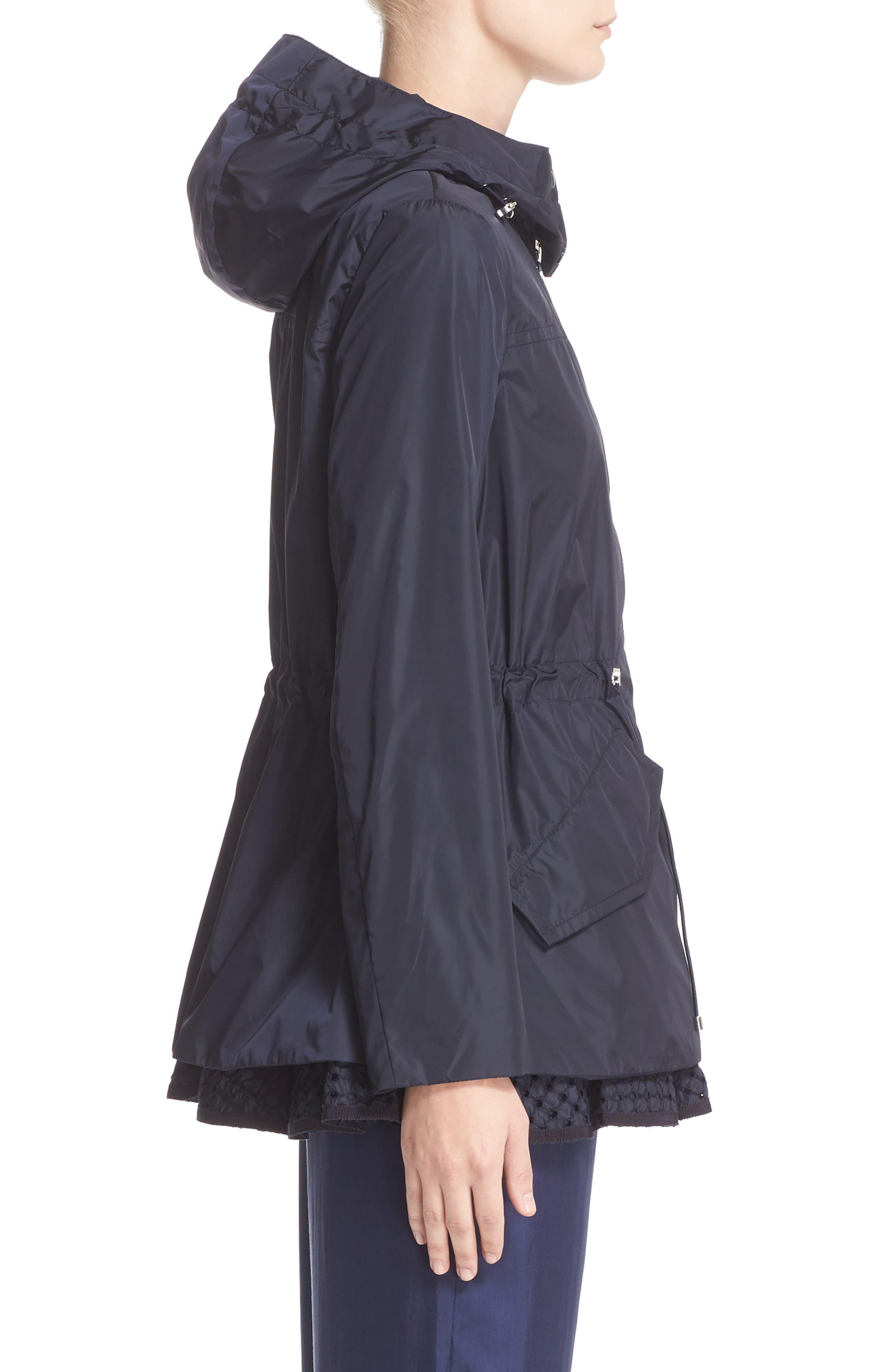 Lotus Water Resistant Peplum Raincoat,                             Alternate thumbnail 5, color,                             Navy