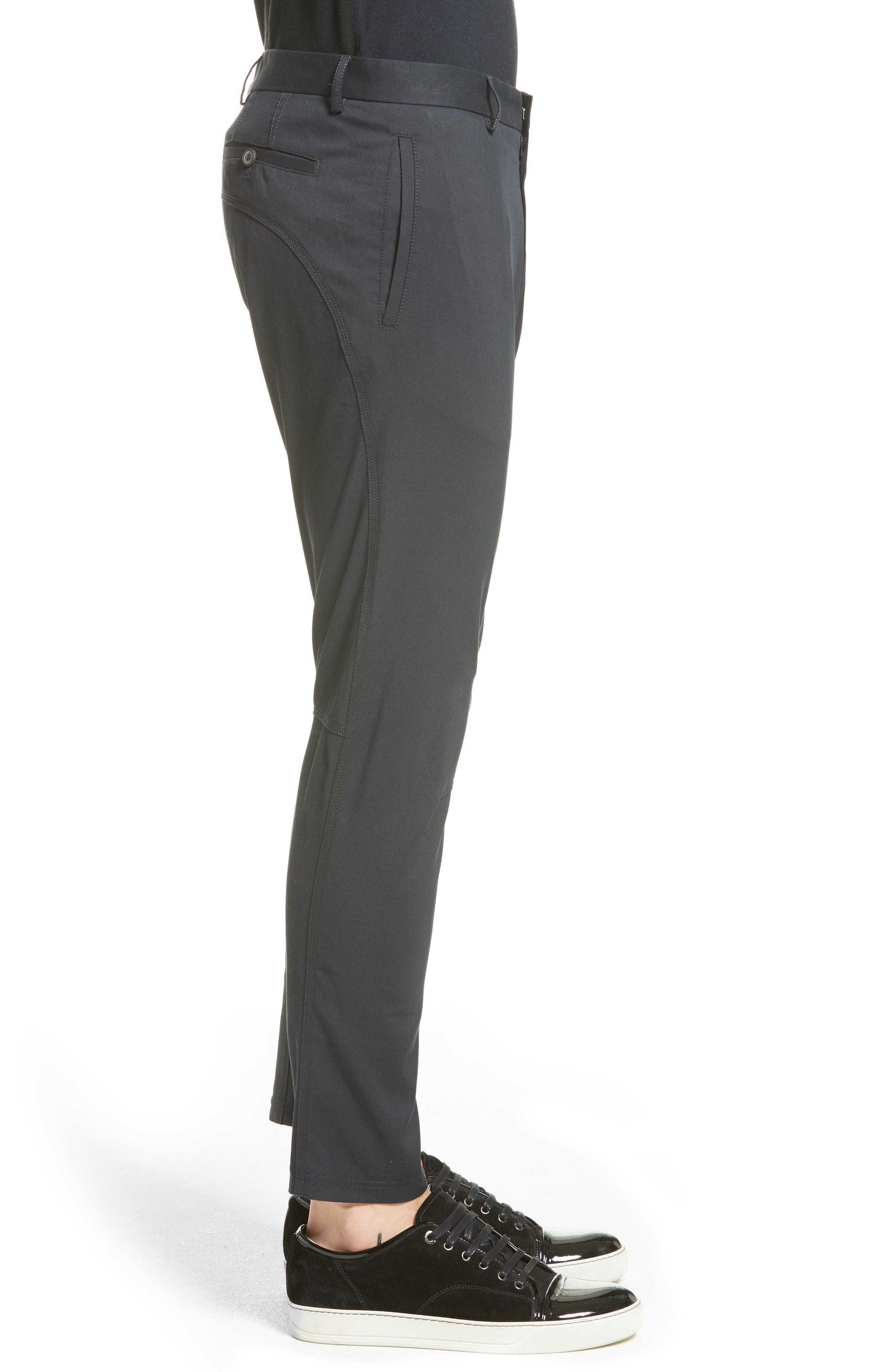 Cotton & Silk Biker Pants,                             Alternate thumbnail 3, color,                             Navy