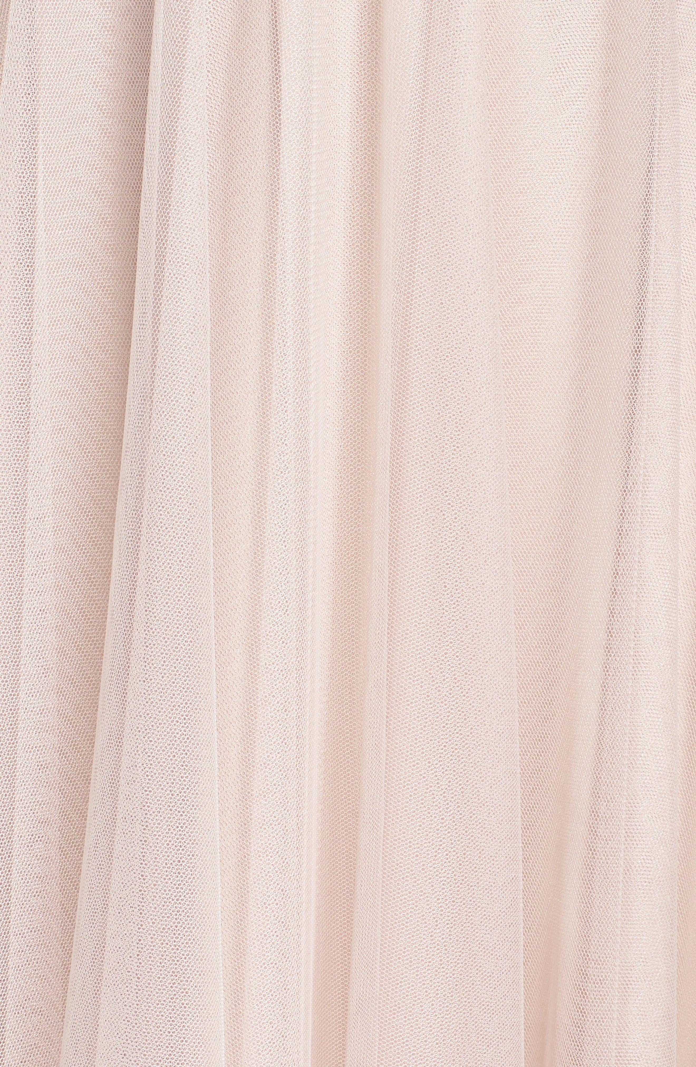Halter Tulle A-Line Gown,                             Alternate thumbnail 5, color,                             Latte