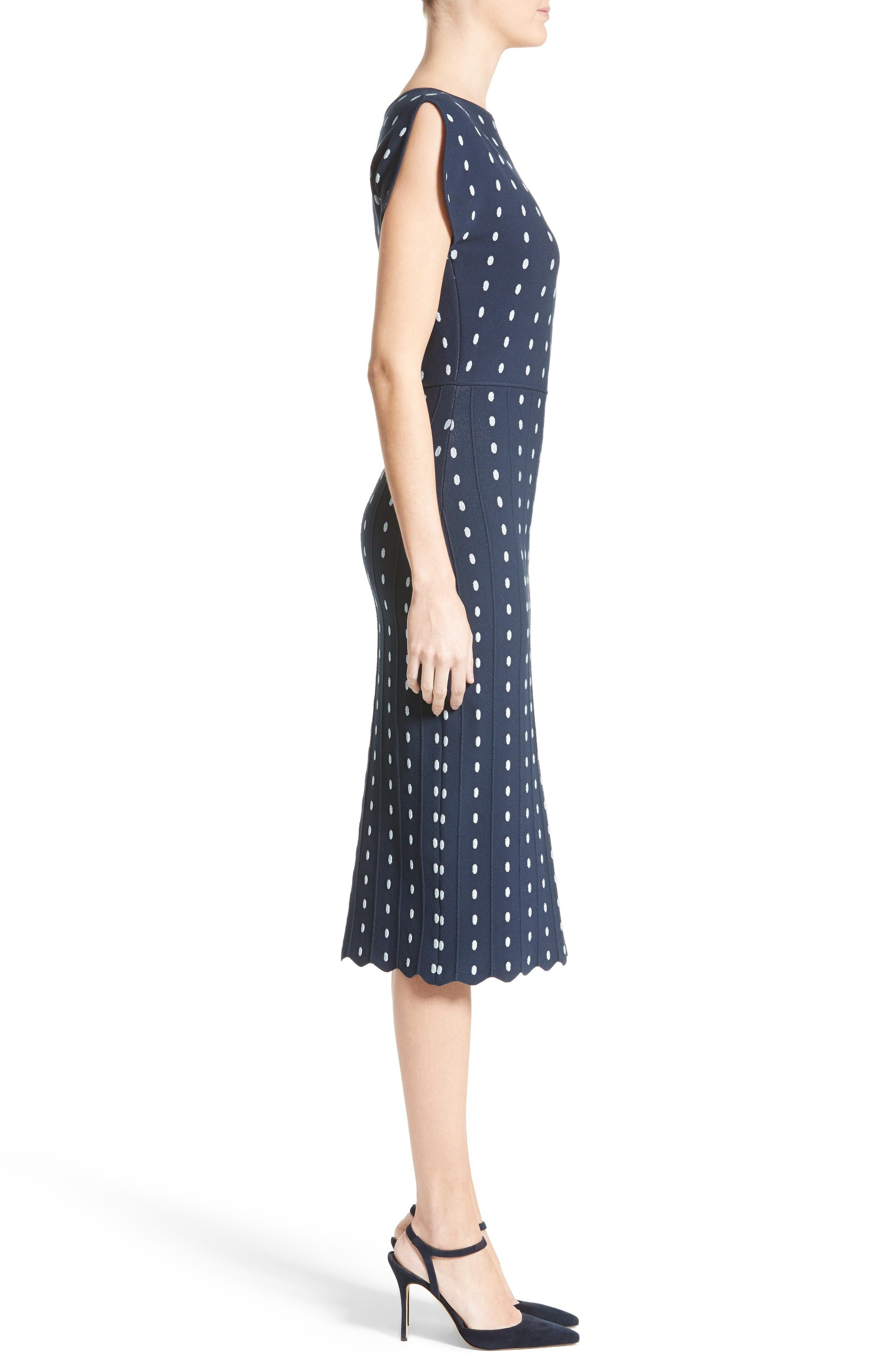 Dot Knit Sheath Dress,                             Alternate thumbnail 6, color,                             Navy/ Ice Blue