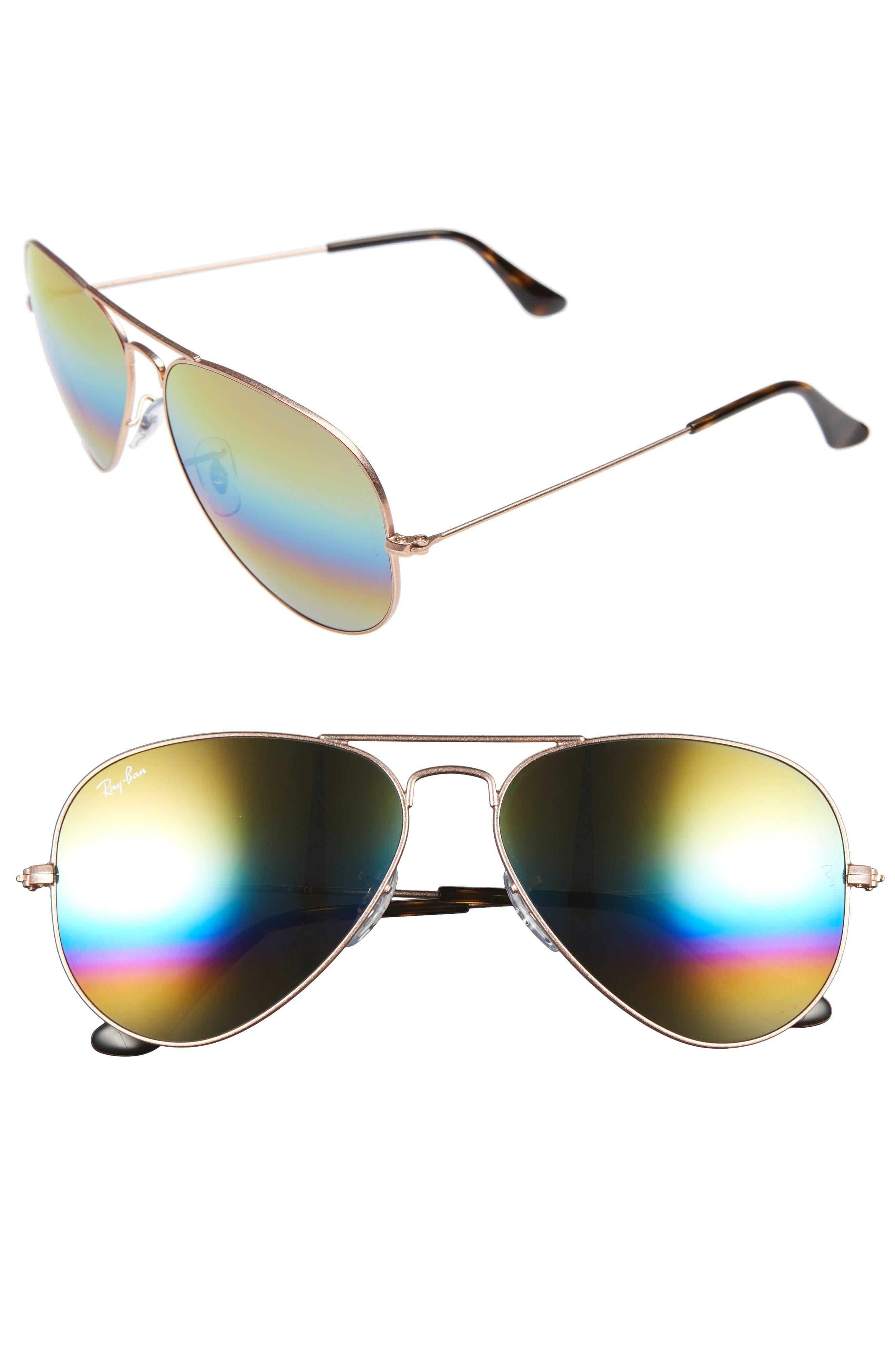 Large Icons 62mm Aviator Sunglasses,                             Main thumbnail 1, color,                             Yellow Multi Rainbow