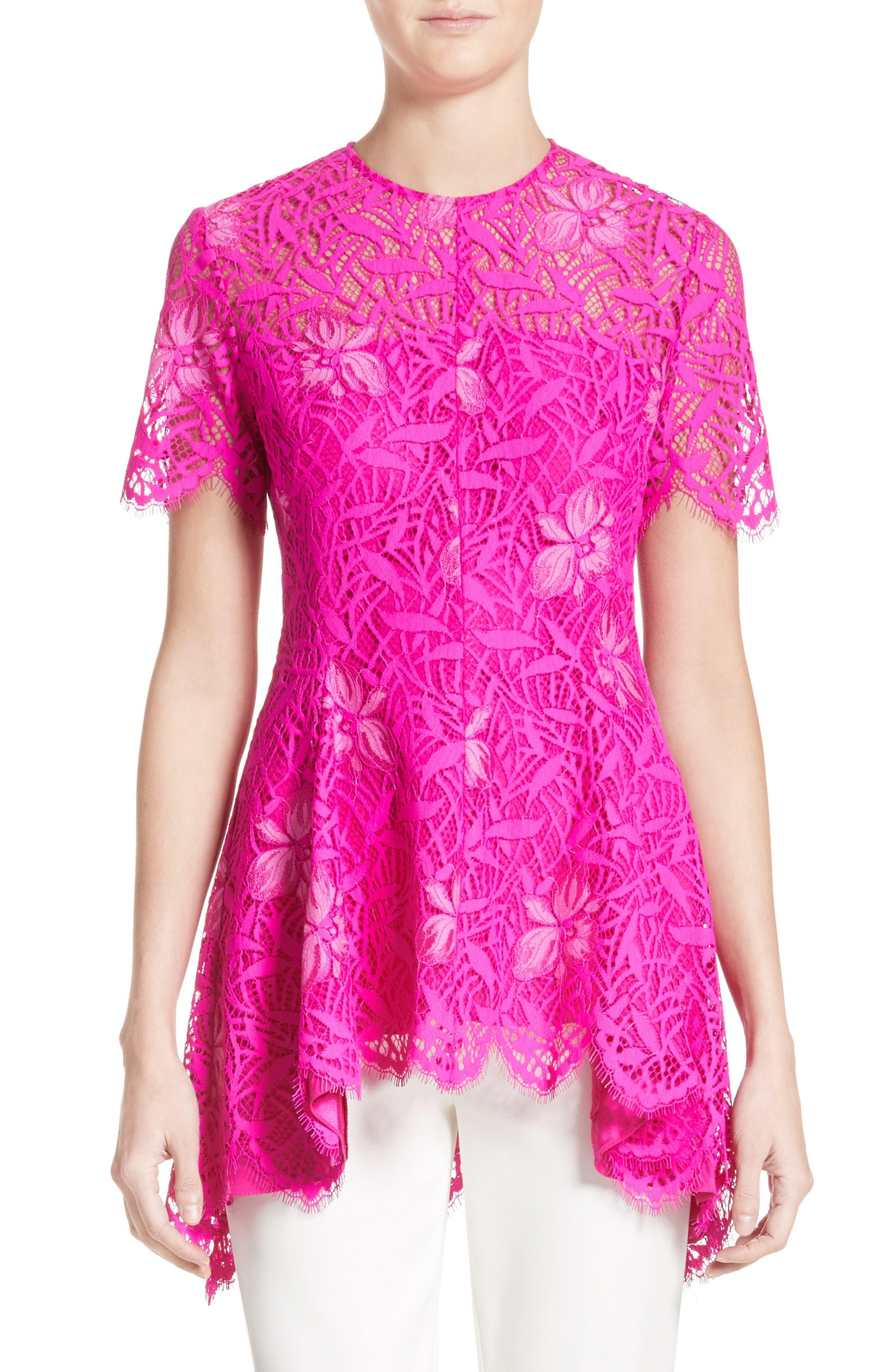 Main Image - Lela Rose Floral Lace Peplum Top