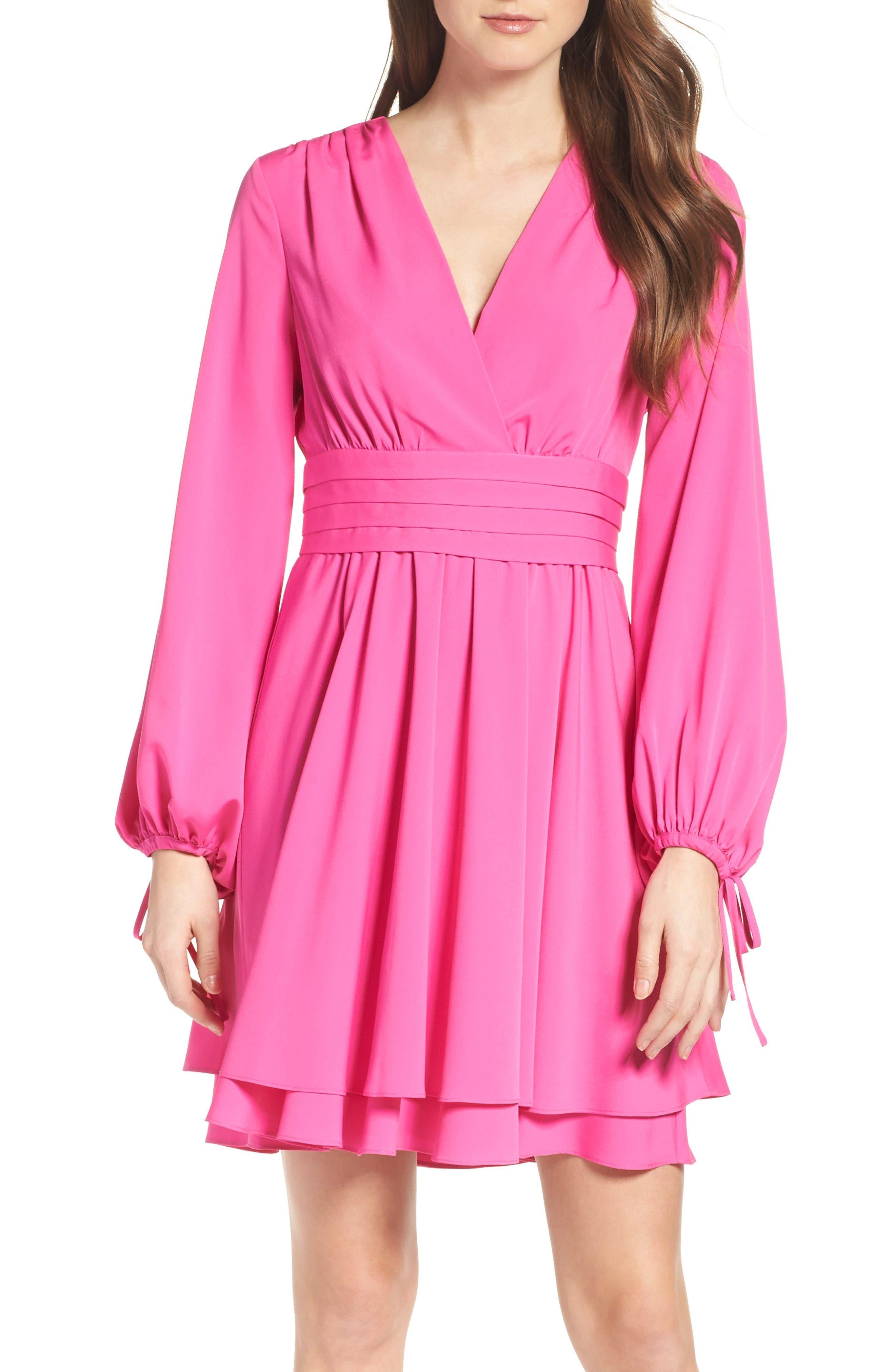 Tie Sleeve Fit & Flare Dress,                         Main,                         color, Fuchsia