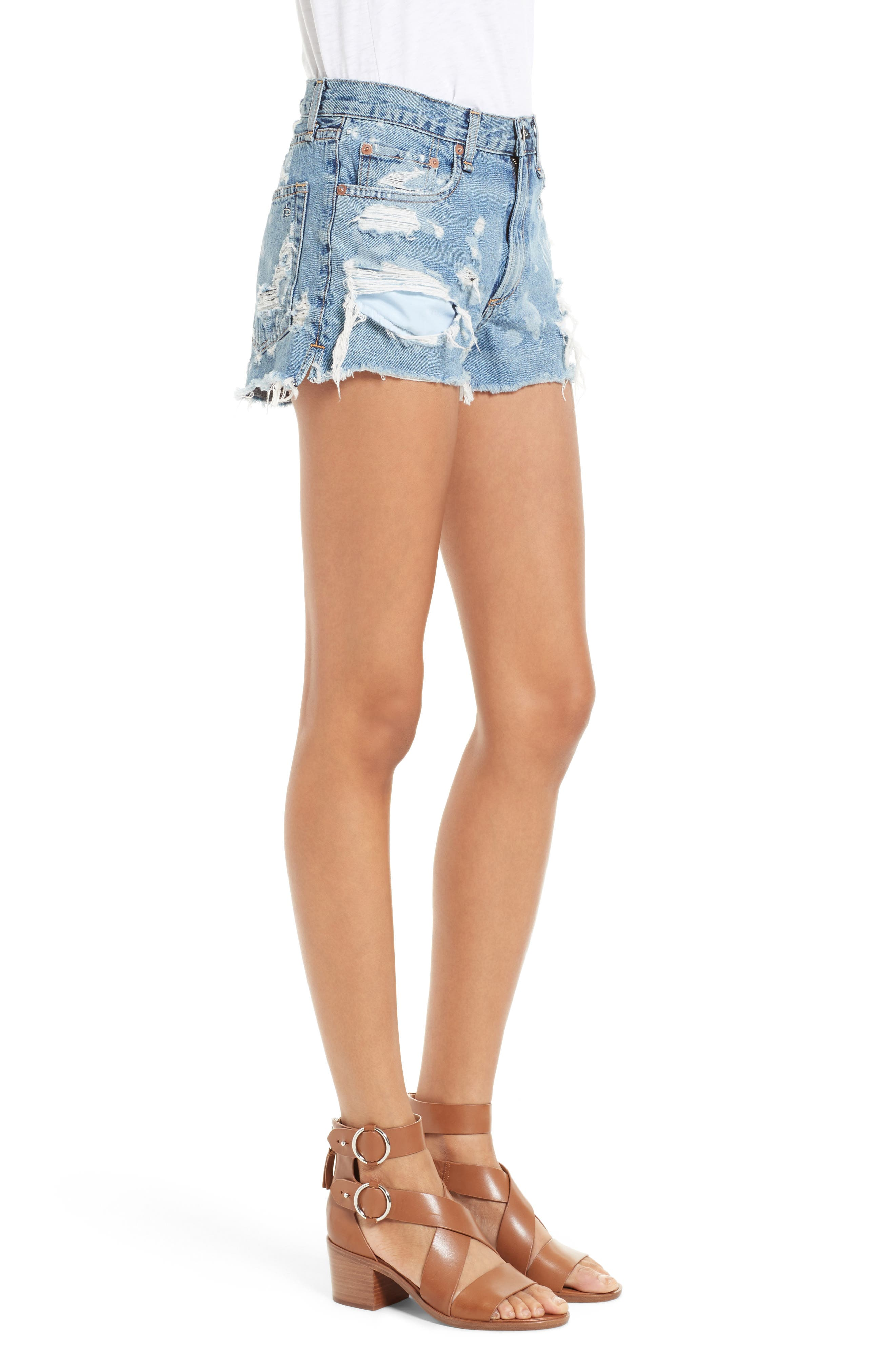 Justine High Waist Cutoff Denim Shorts,                             Alternate thumbnail 3, color,                             Brokenland