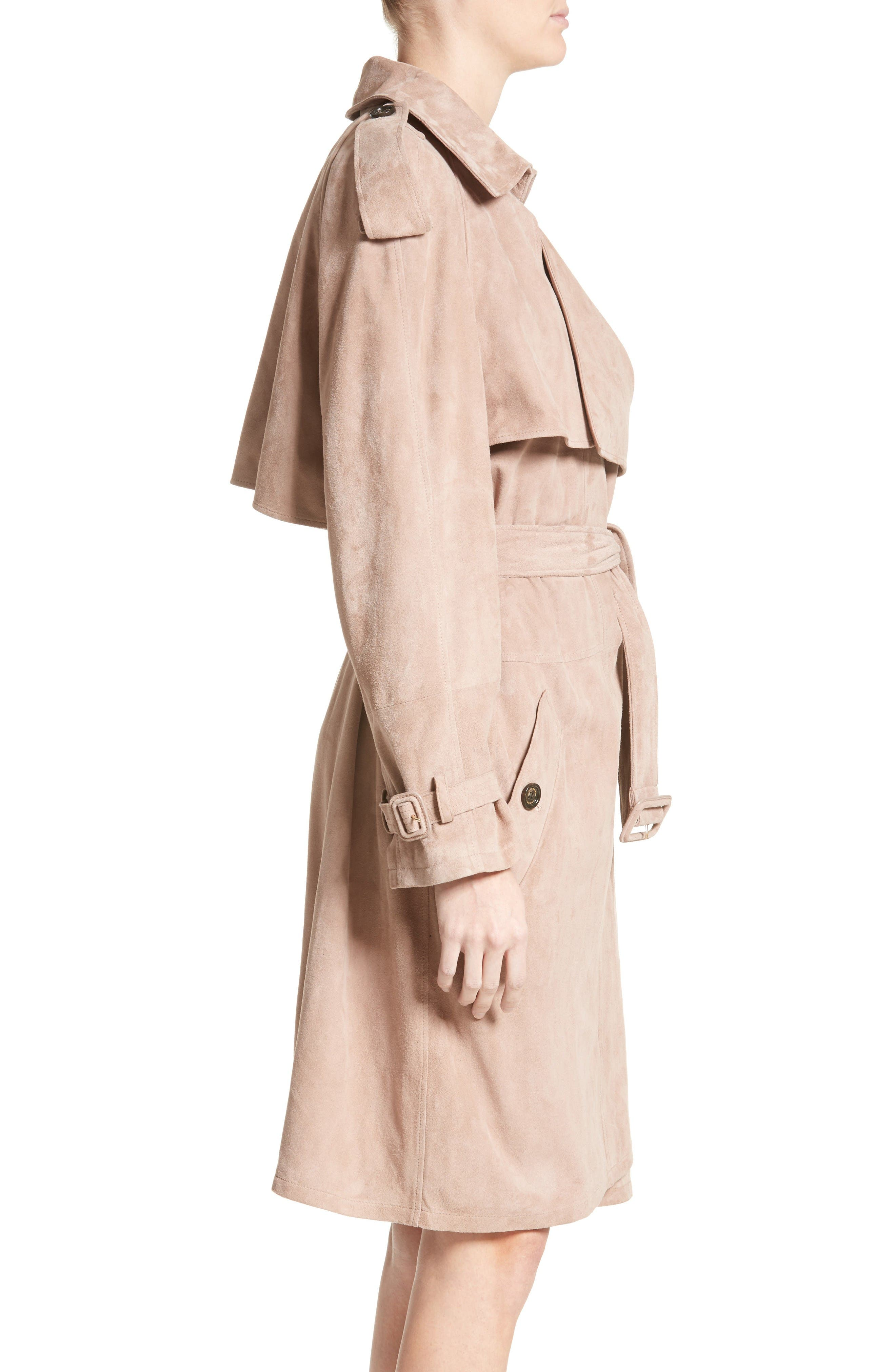 Alternate Image 5  - Burberry Sanbridges Suede Wrap Trench