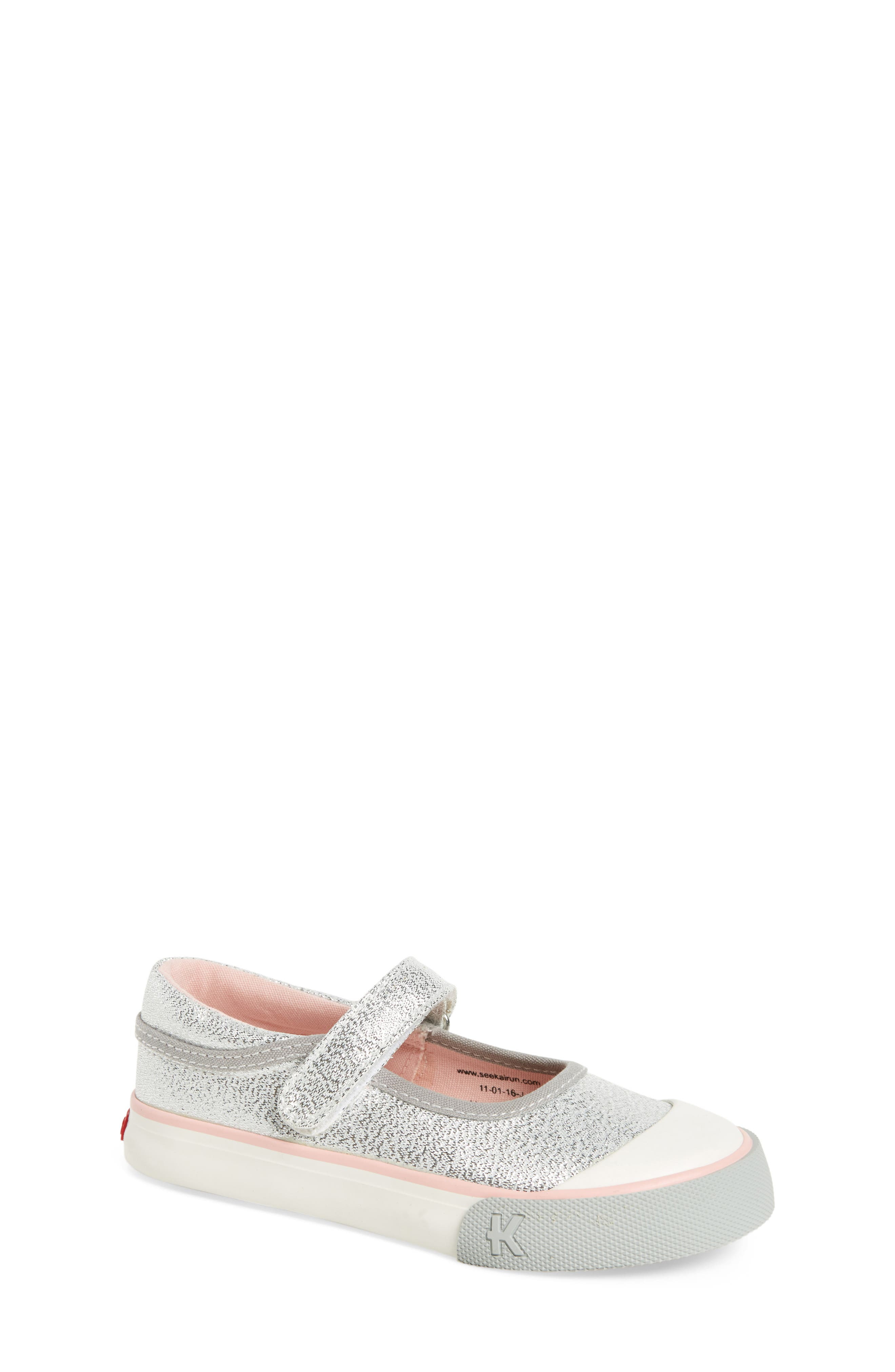 'Marie' Mary Jane Sneaker,                         Main,                         color, Silver Glitter