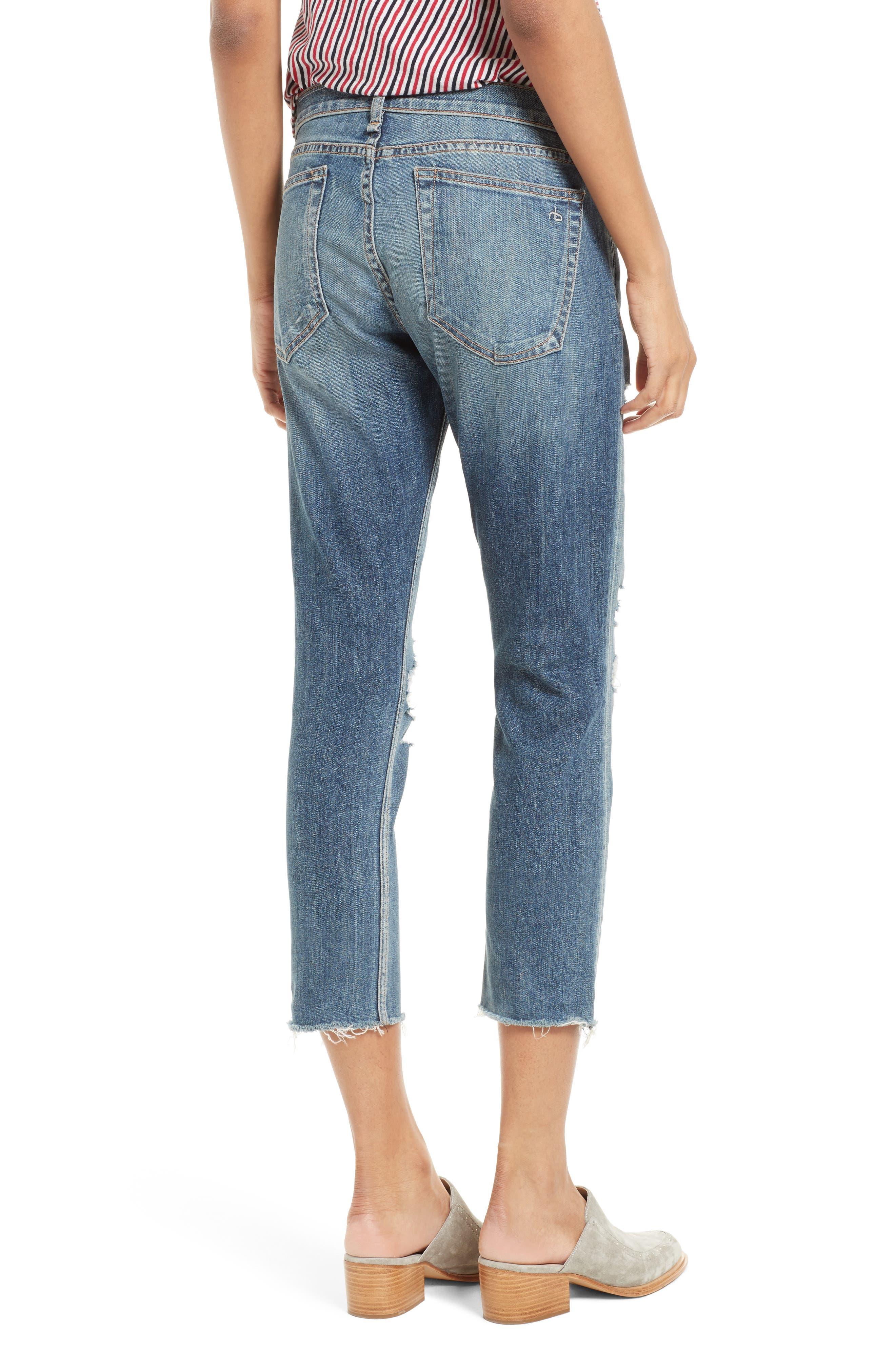 Alternate Image 2  - rag & bone/JEAN The Dre Capri Slim Boyfriend Jeans (Delamo)