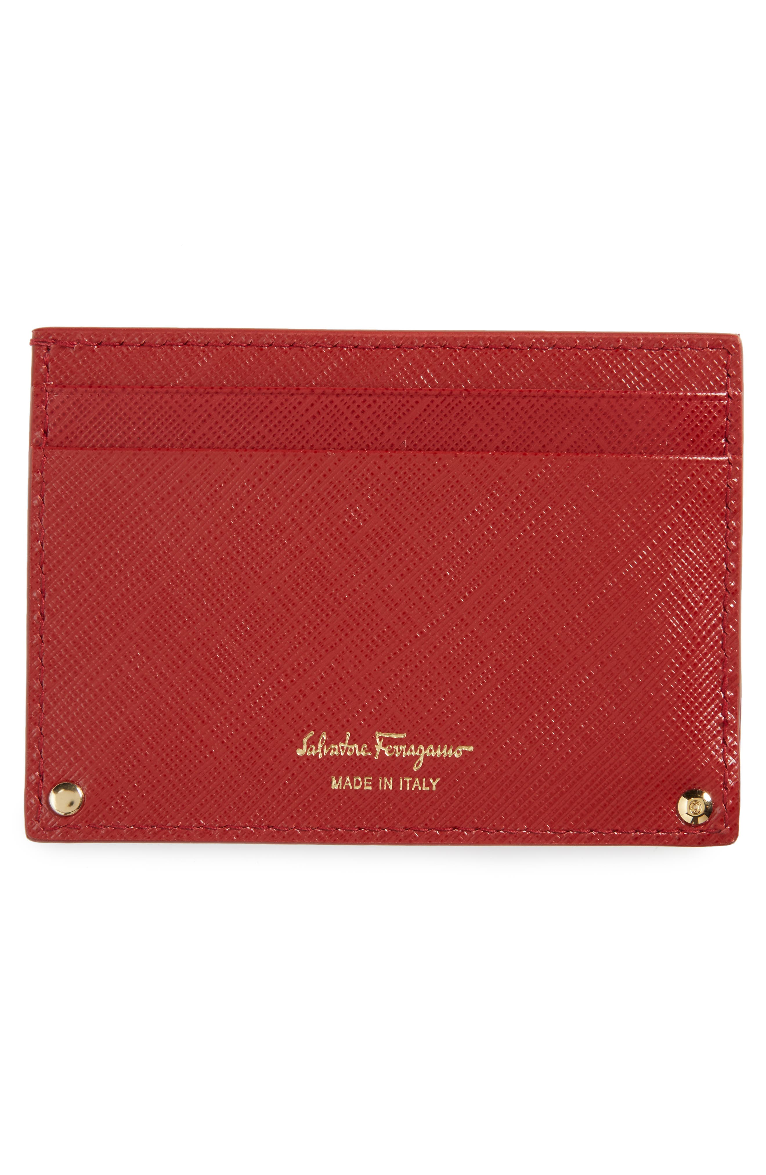Alternate Image 2  - Salvatore Ferragamo Saffiano Calfskin Card Case