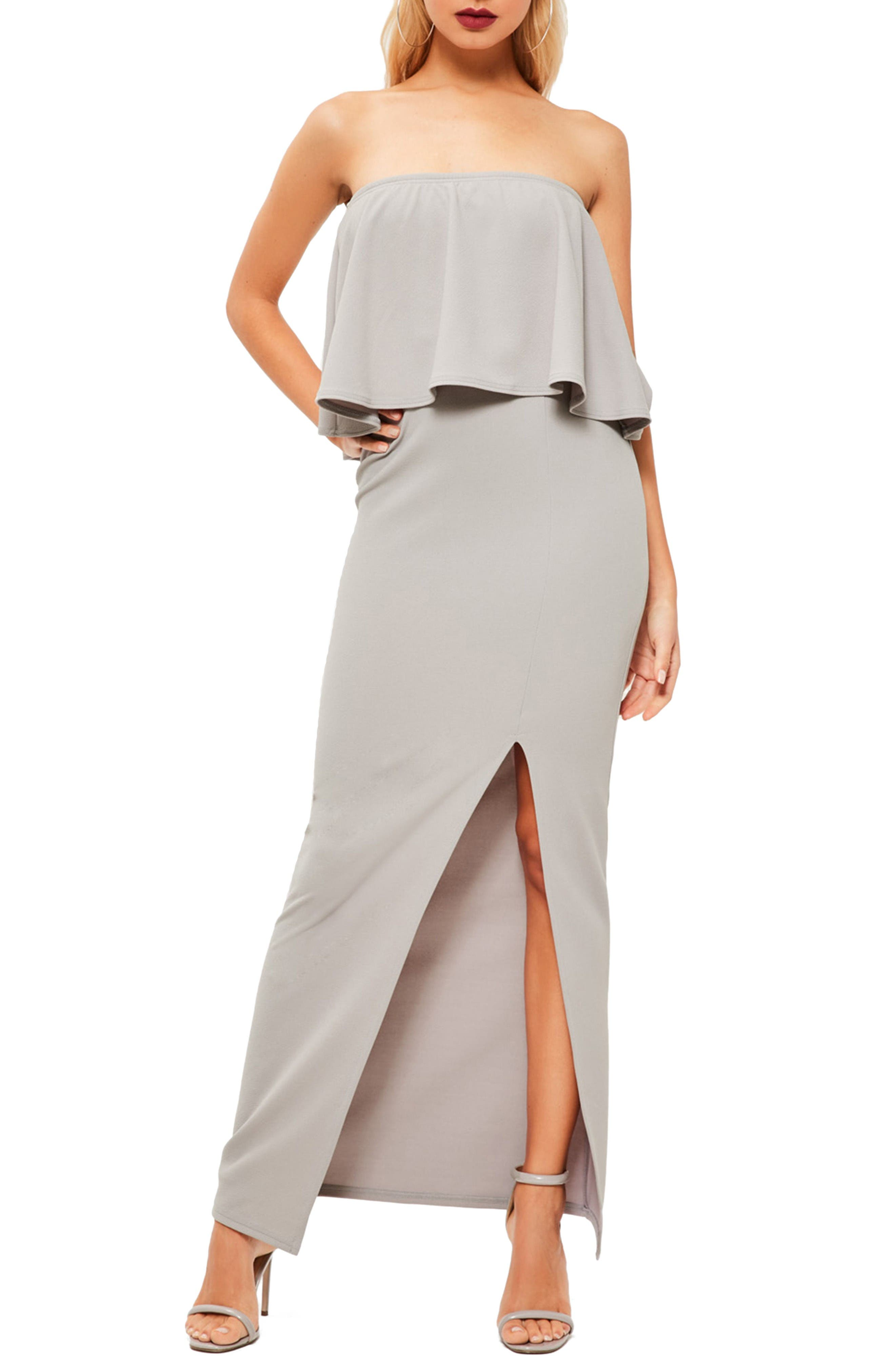 Strapless Popover Maxi Dress,                         Main,                         color, Grey