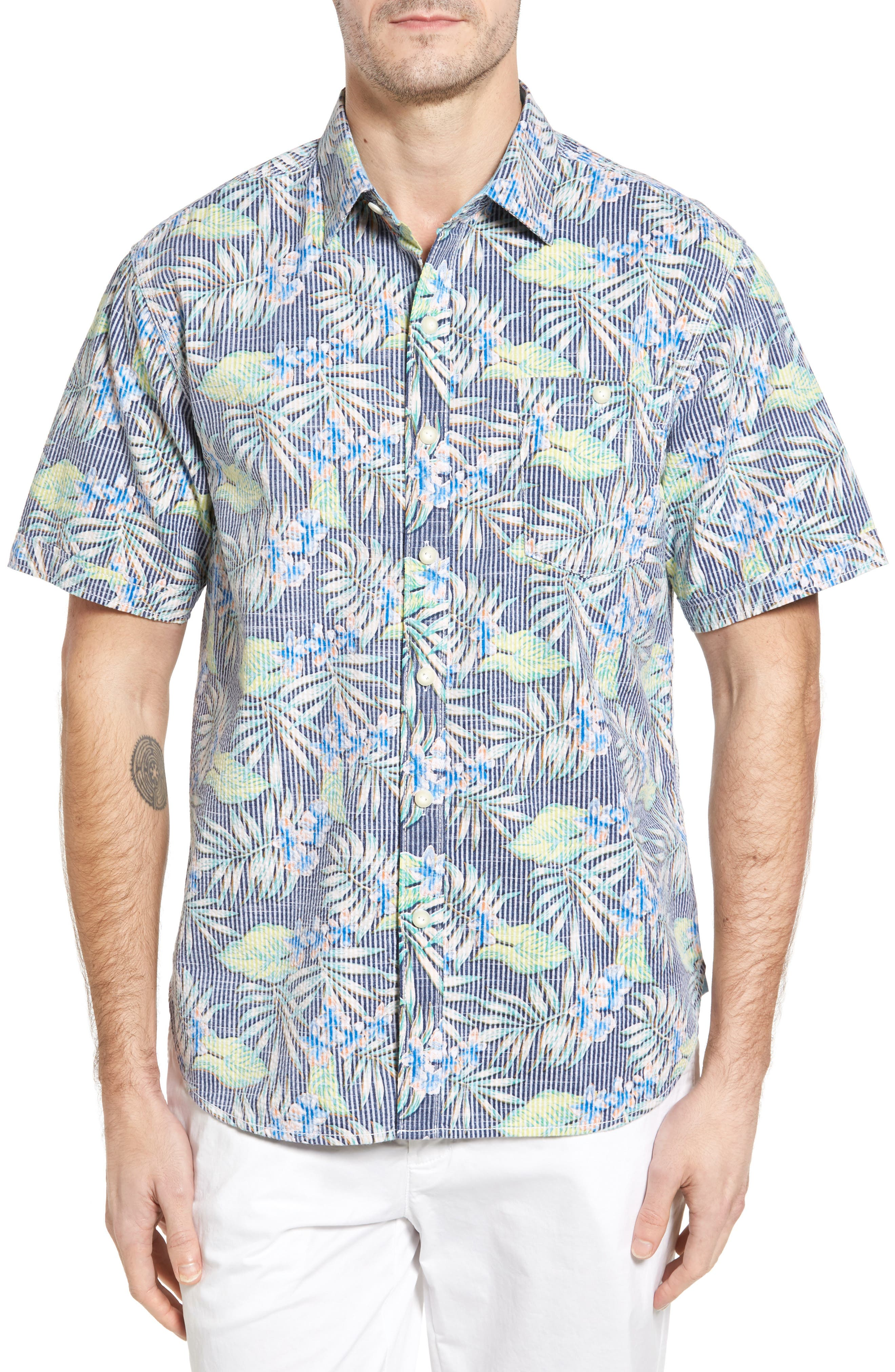 Between Two Fronds Standard Fit Print Sport Shirt,                             Main thumbnail 1, color,                             Bering Blue