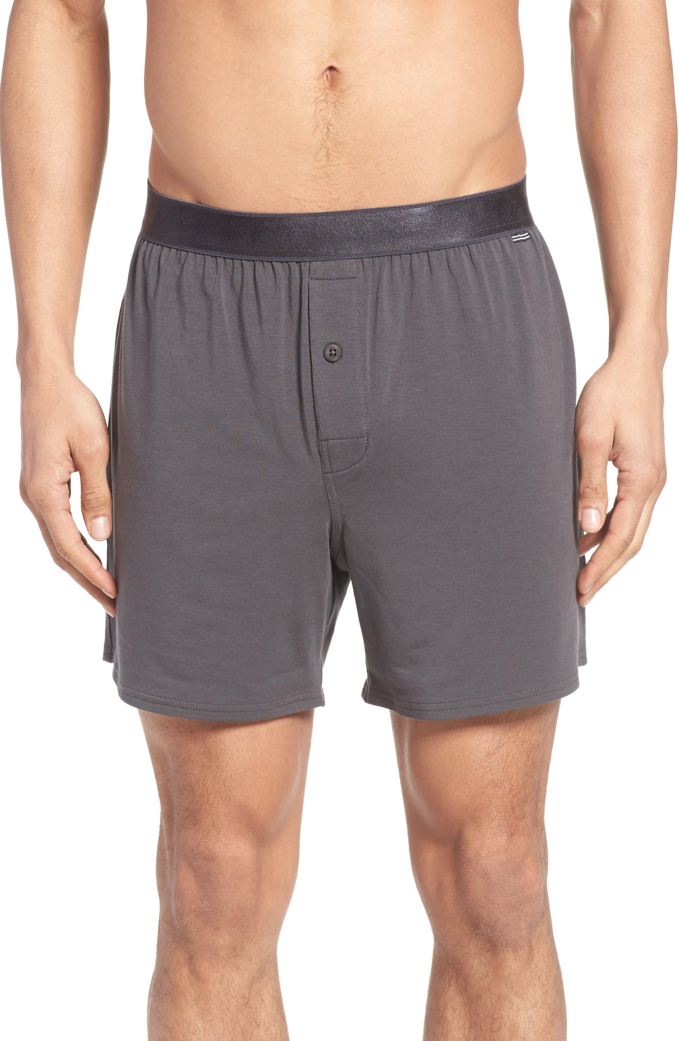 Micro Modal Blend Knit Boxers,                         Main,                         color, Graphite Grey