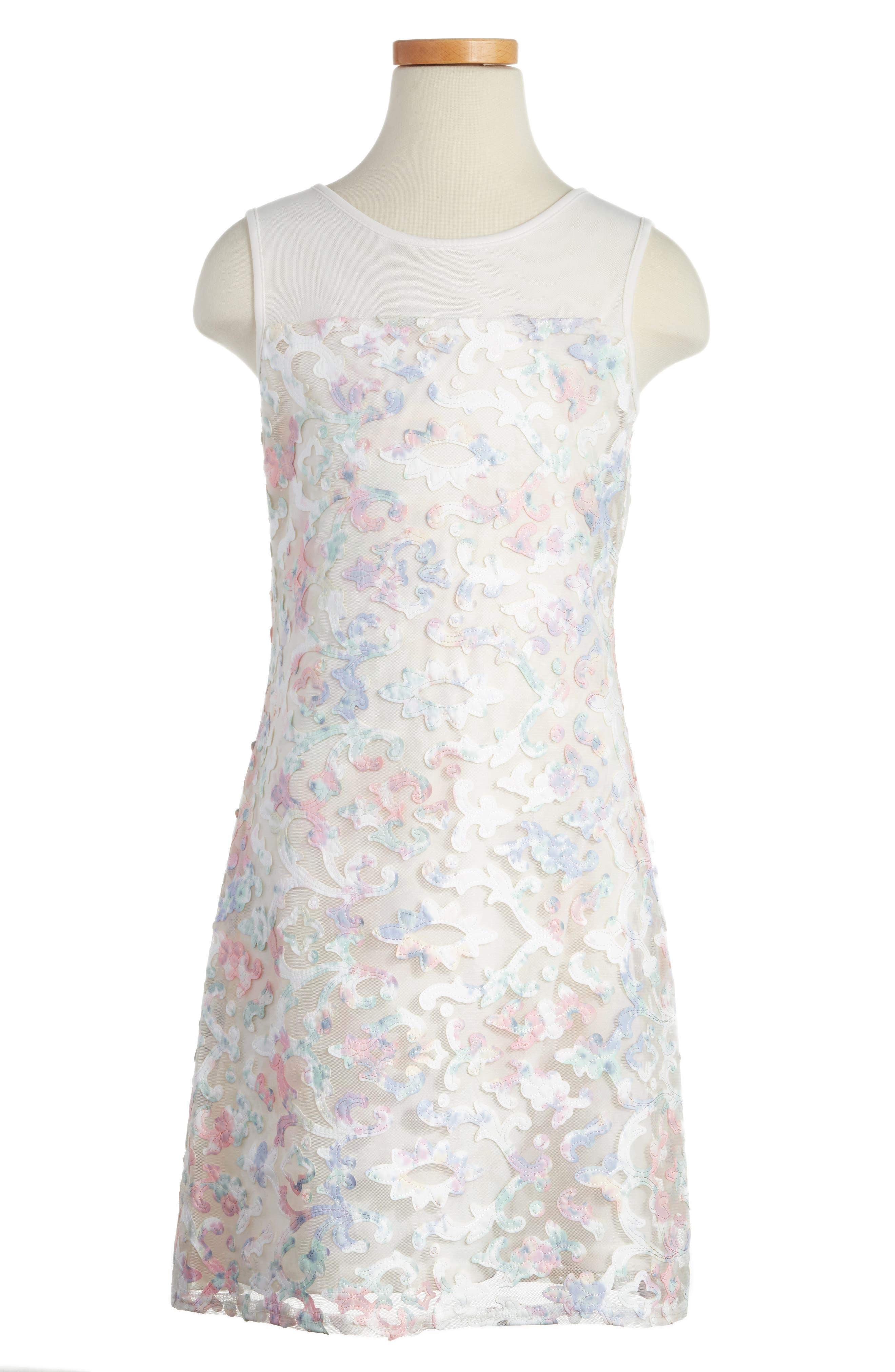 BLUSH by Us Angels Floral Illusion Dress (Big Girls)