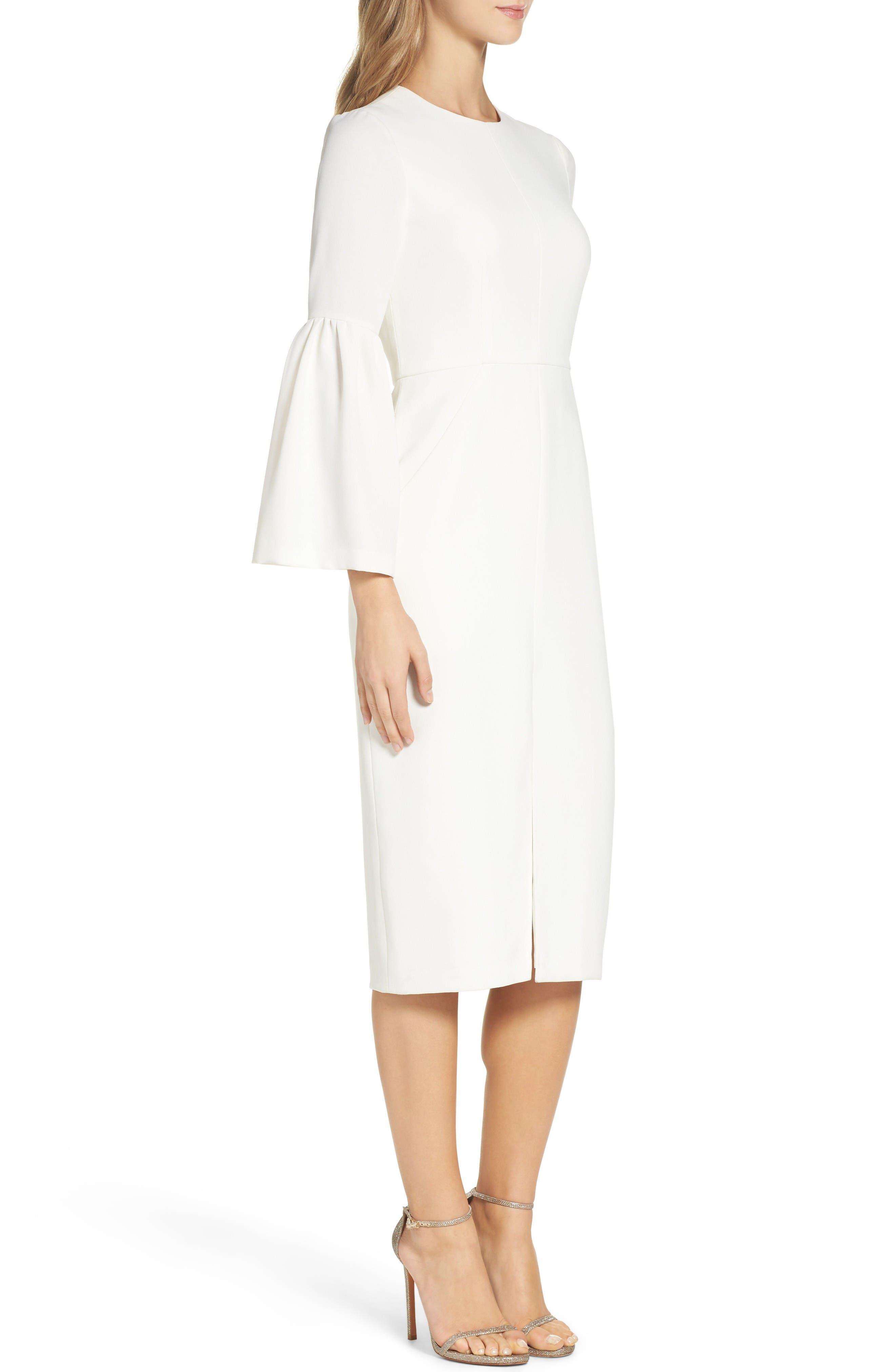 Crepe Midi Dress,                             Alternate thumbnail 3, color,                             Off White