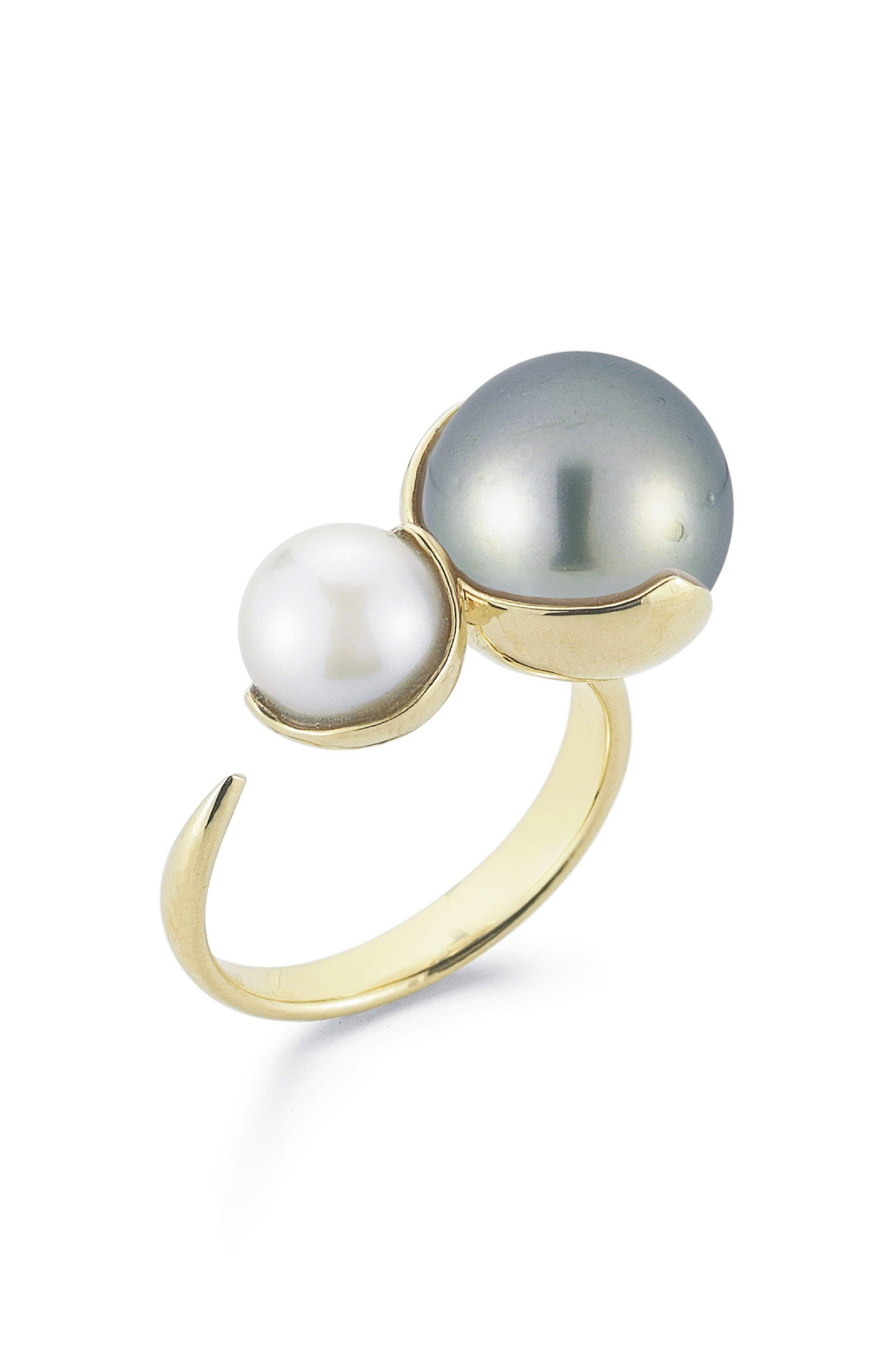 Openwork Pearl Ring,                         Main,                         color, White Pearl/ Black Pearl