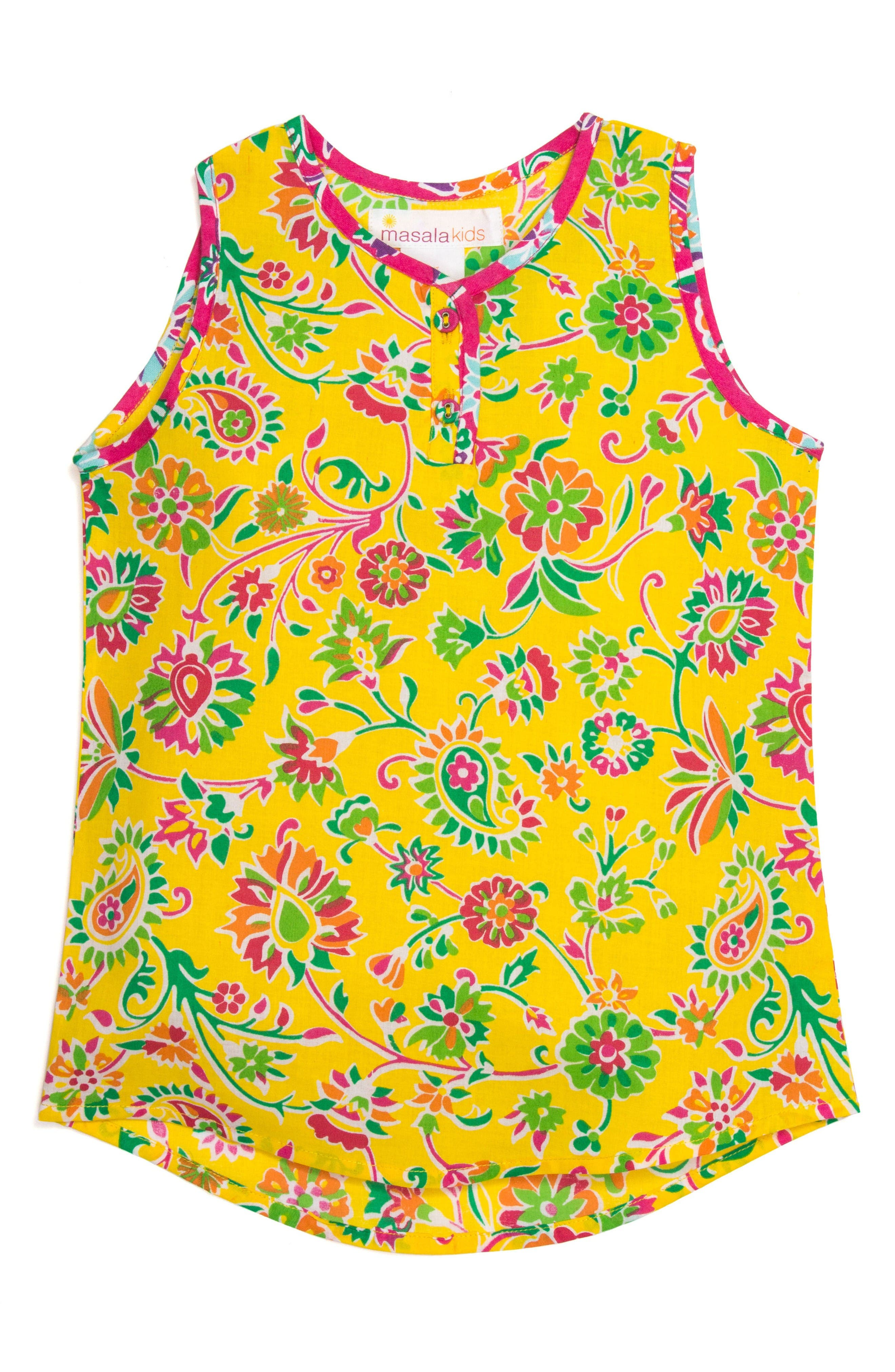 Mimi Sleeveless Top,                         Main,                         color, Yellow