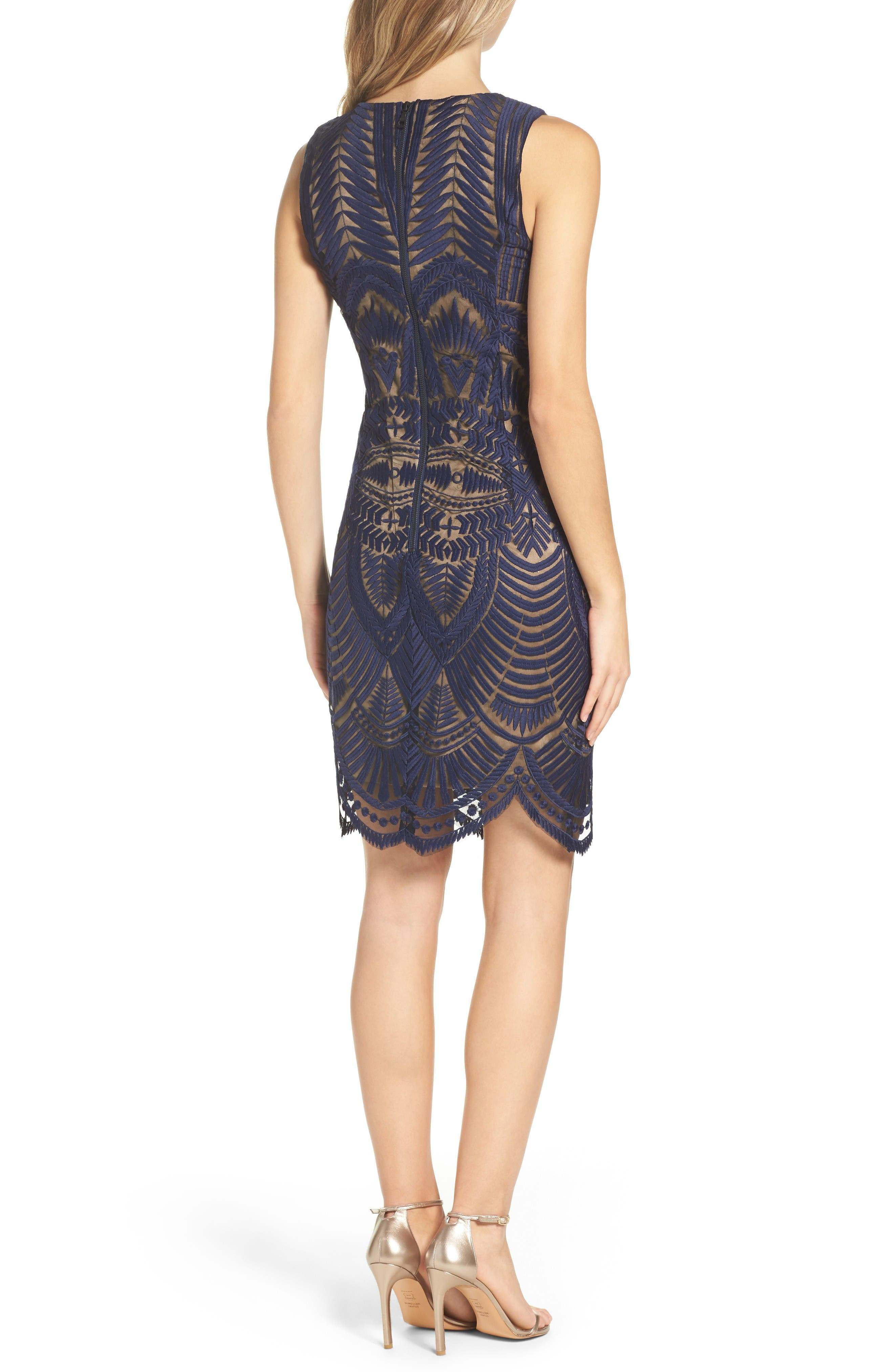 Embroidered Mesh Dress,                             Alternate thumbnail 2, color,                             Ink
