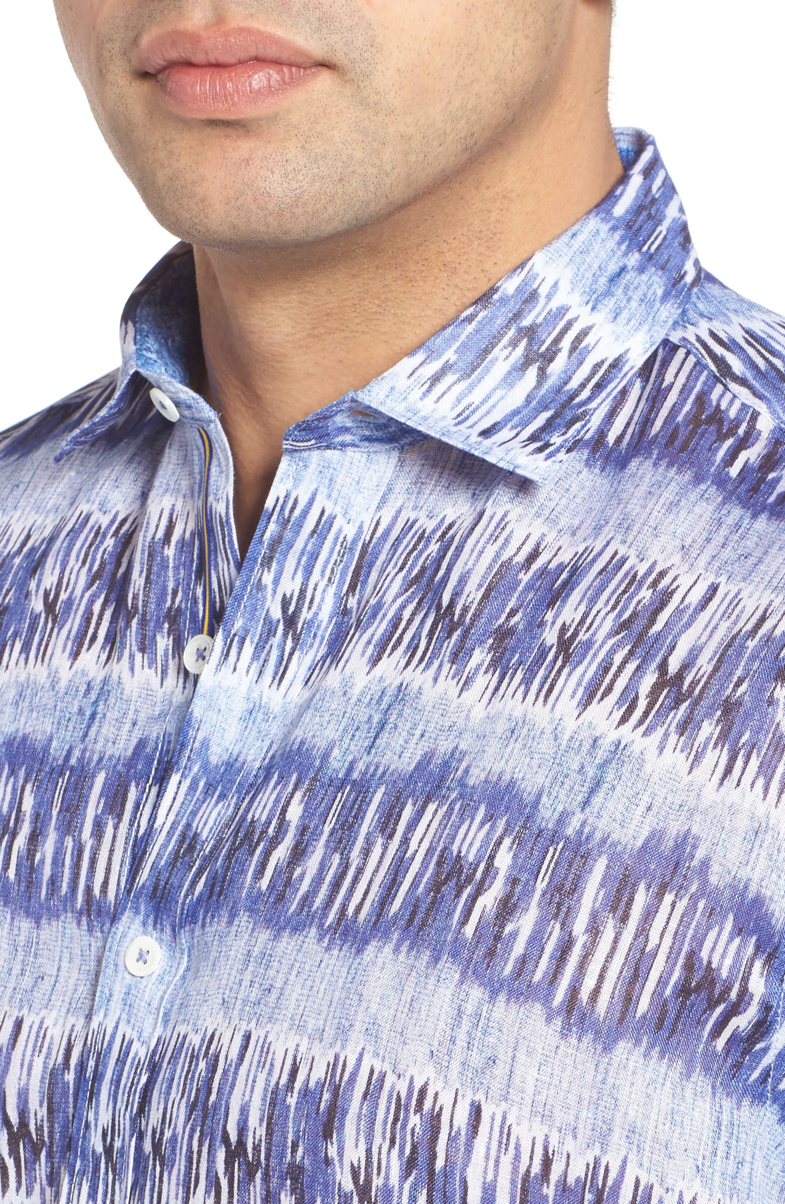 Alternate Image 4  - Bugatchi Shaped Fit Print Linen Sport Shirt