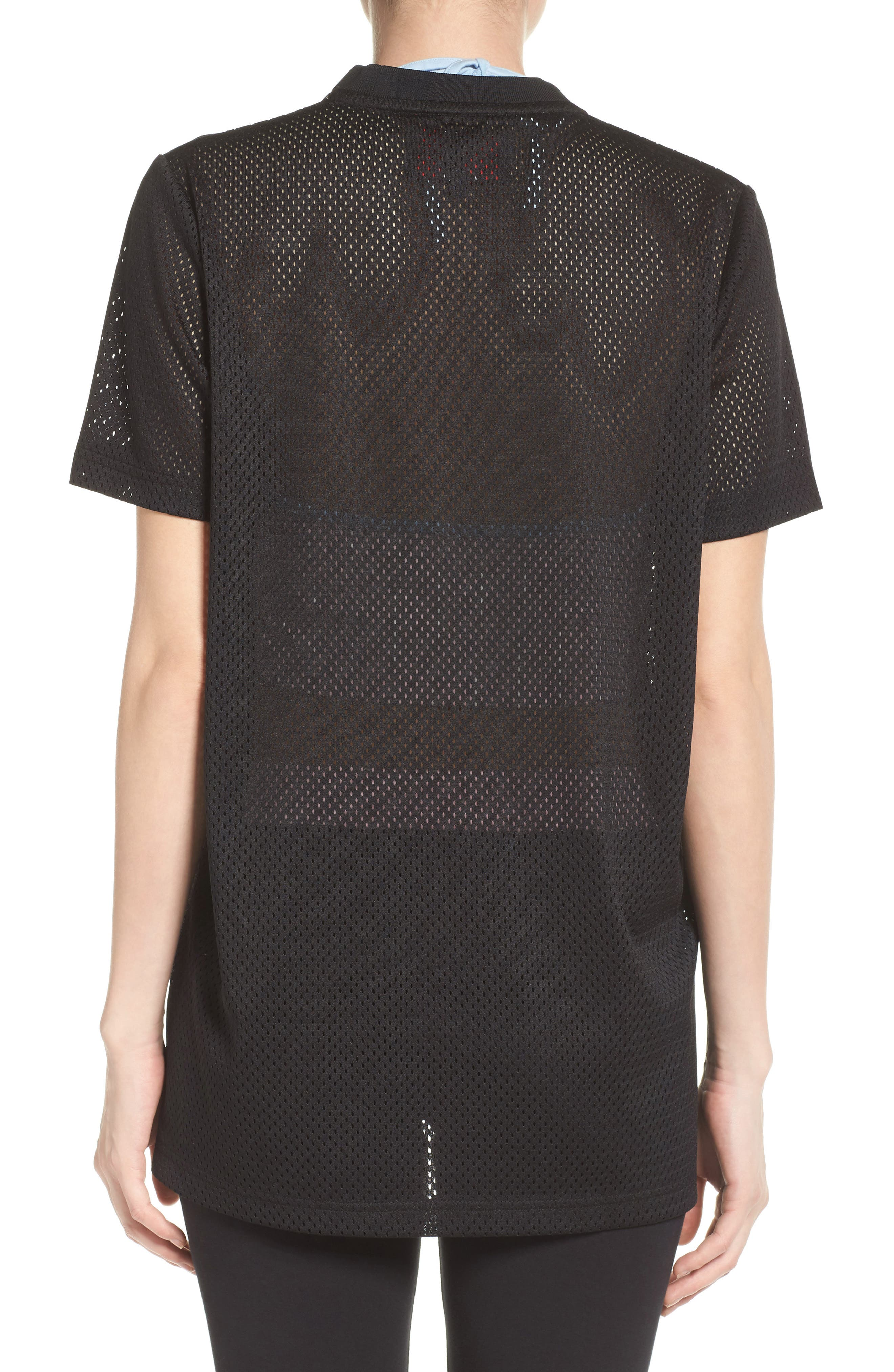 Liona Mesh Tee,                             Alternate thumbnail 2, color,                             Black