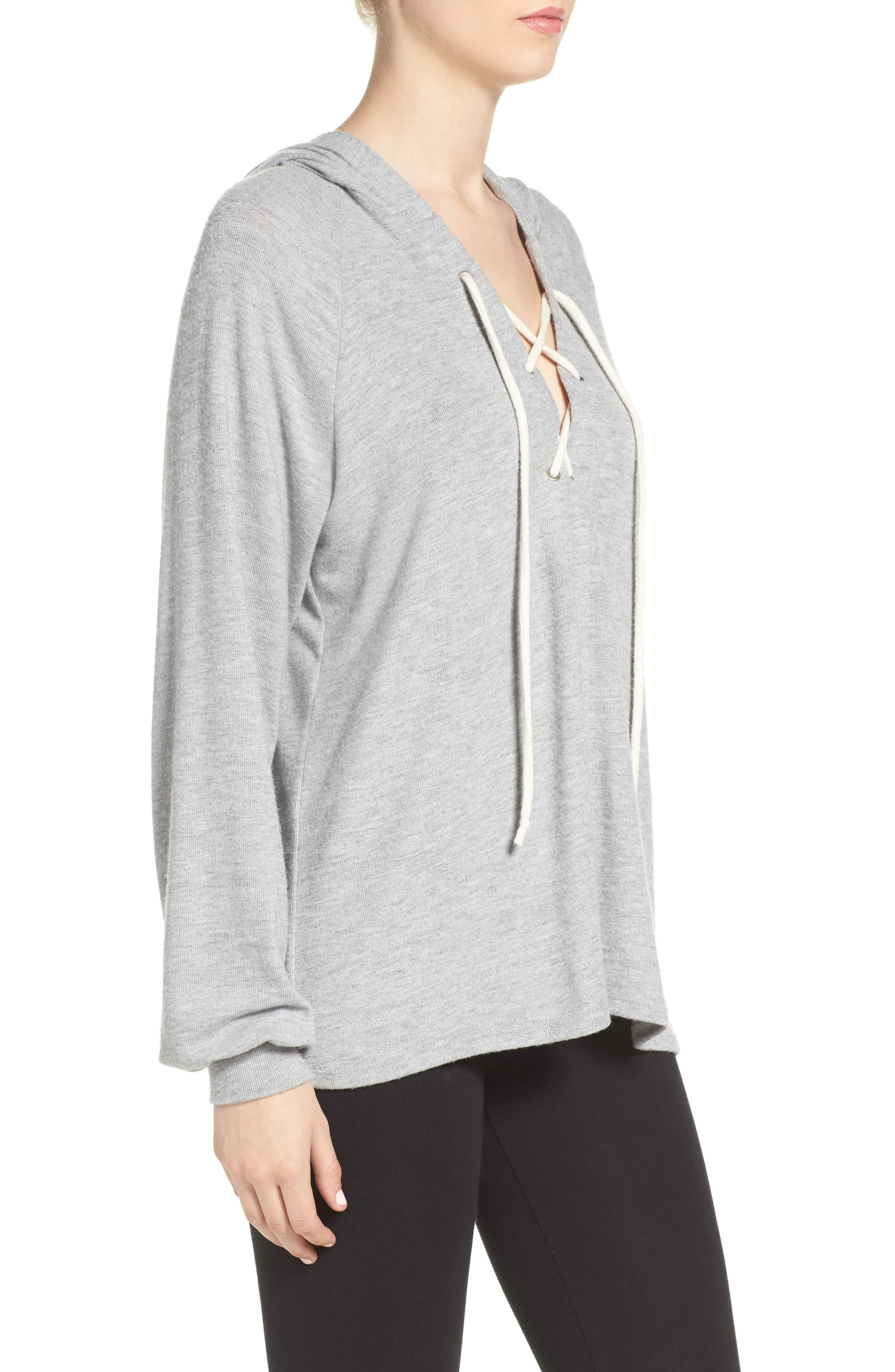Carson Lace-Up Lounge Hoodie,                             Alternate thumbnail 3, color,                             Heather Grey/ Silk