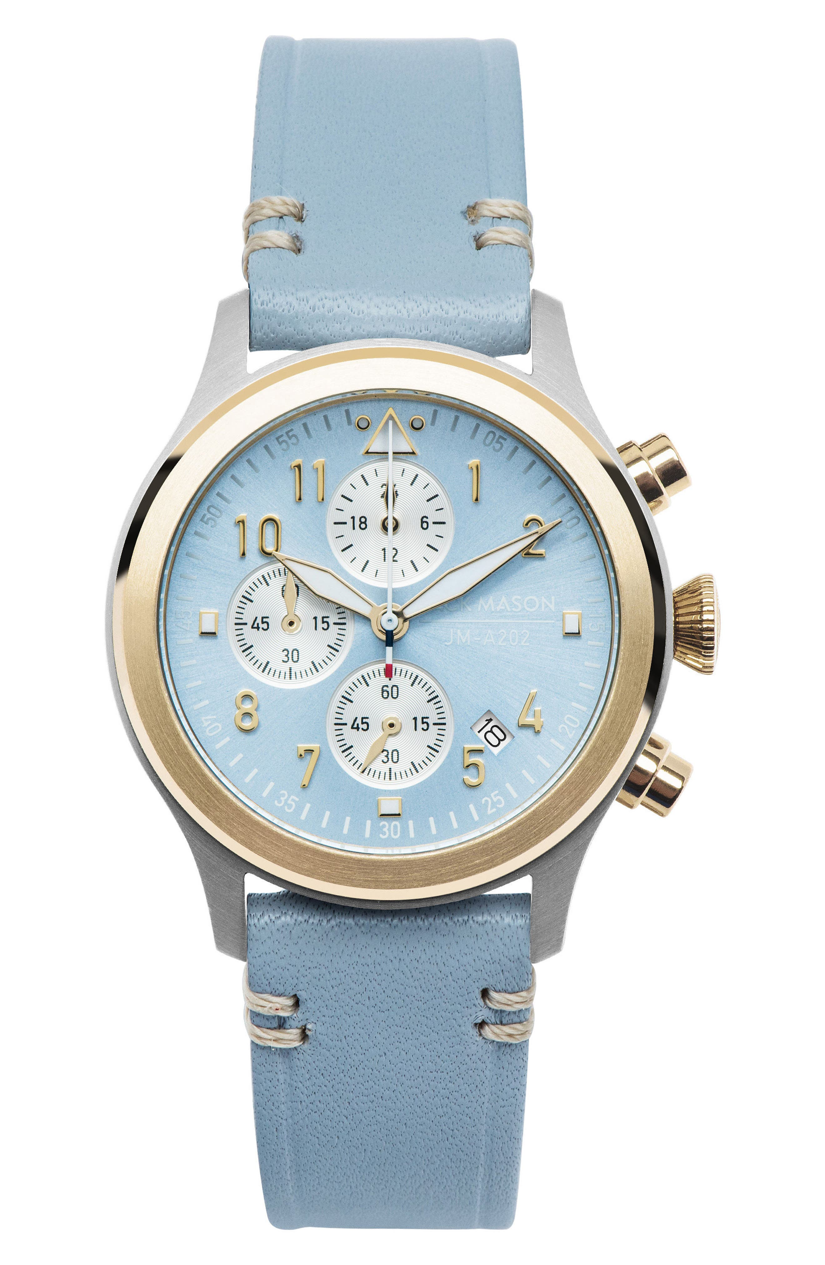 Aviation Chronograph Leather Strap Watch, 36mm,                         Main,                         color, Azure Blue/ Light Blue/ Gold