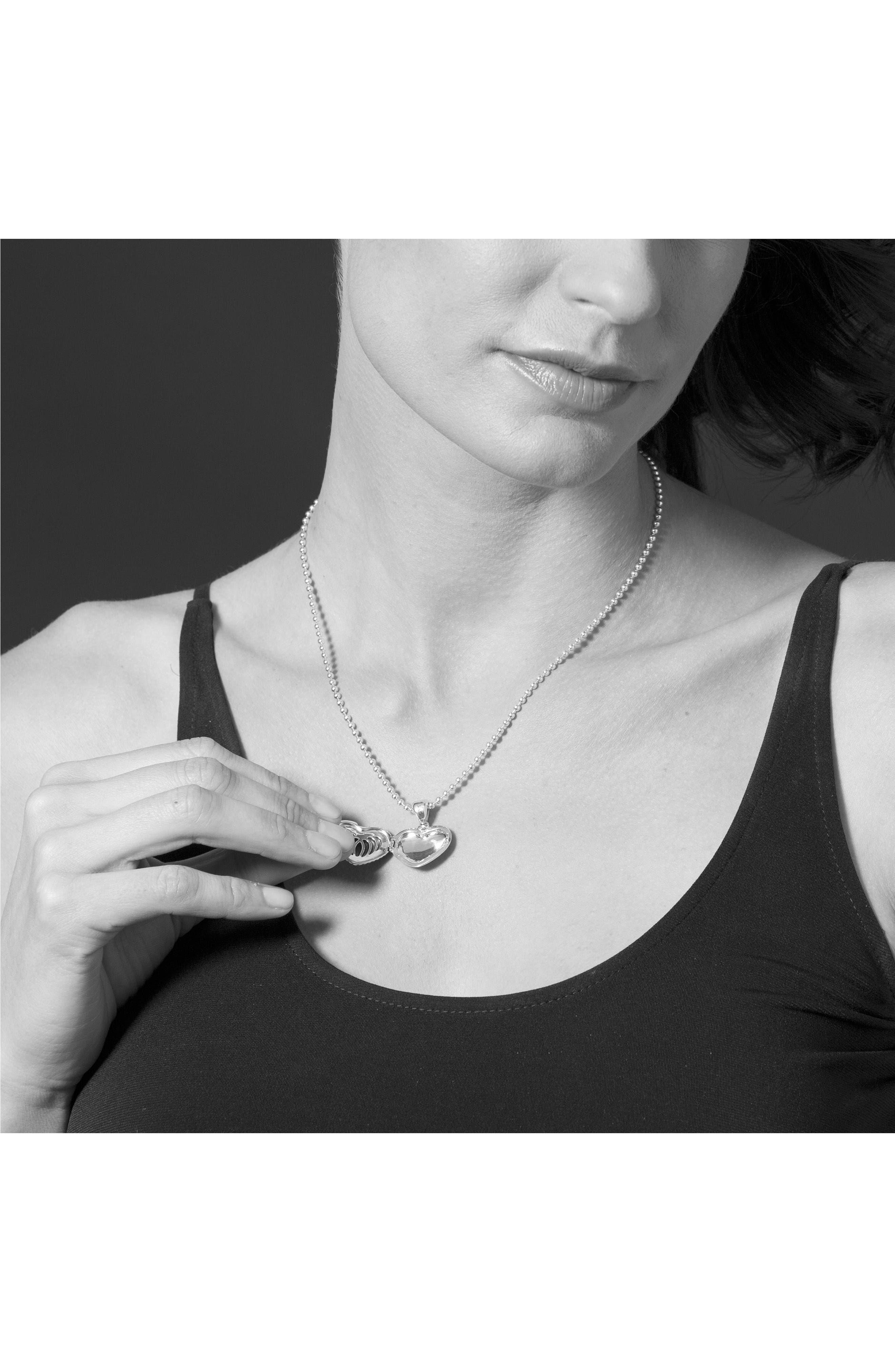Beloved Fluted Heart Locket Necklace,                             Alternate thumbnail 2, color,                             Silver