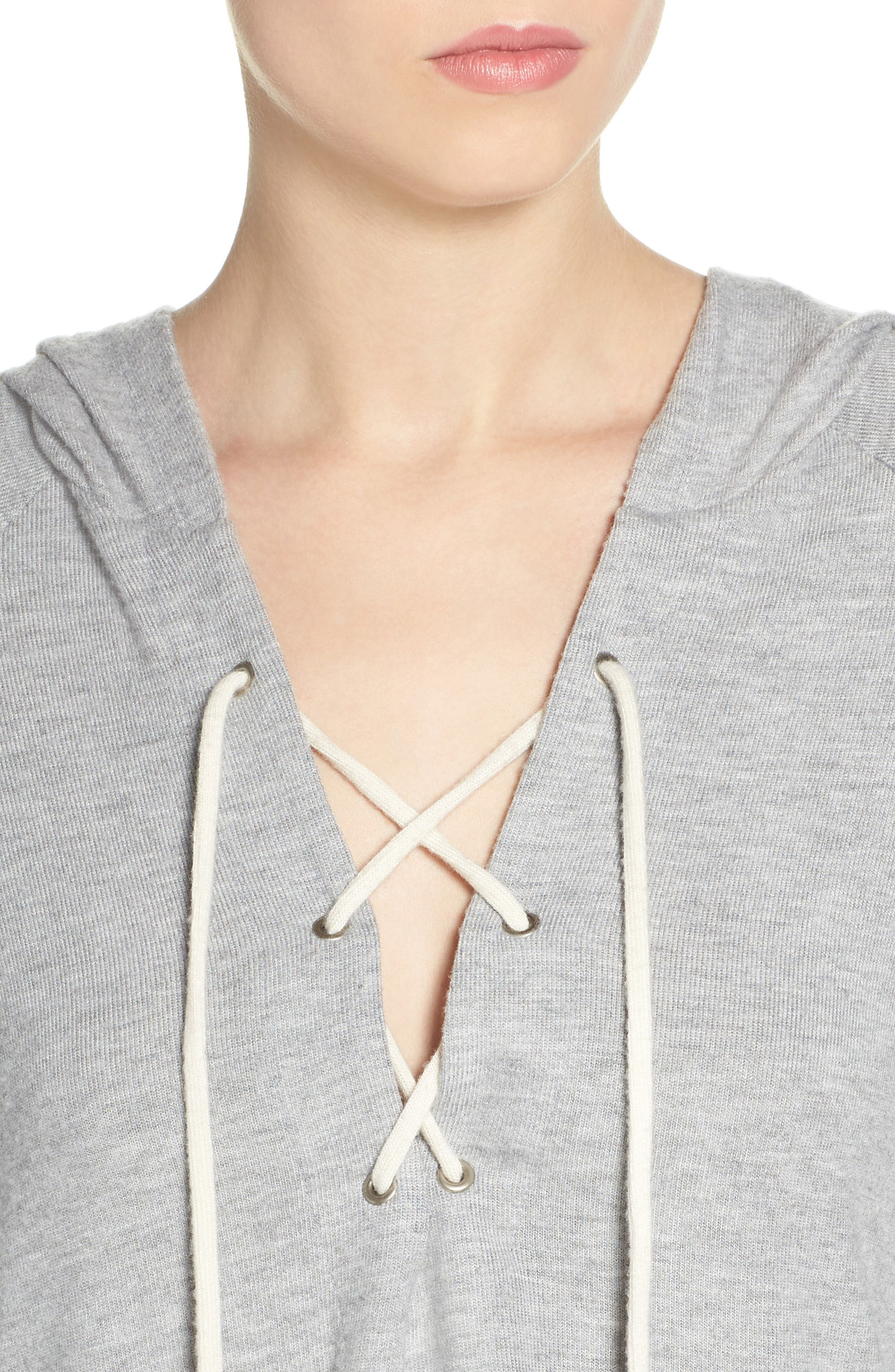 Carson Lace-Up Lounge Hoodie,                             Alternate thumbnail 4, color,                             Heather Grey/ Silk