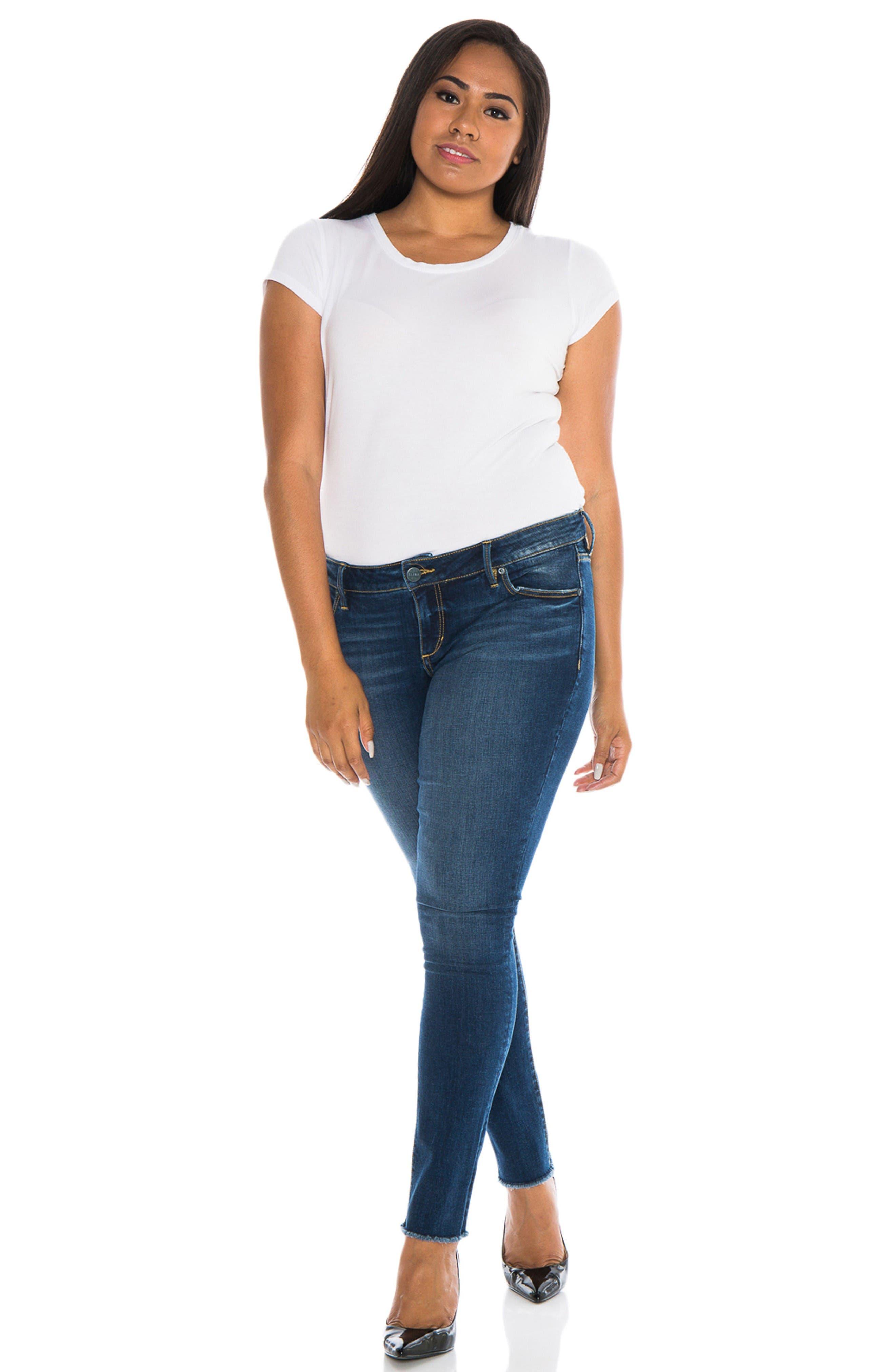 Alternate Image 2  - SLINK Jeans Raw Hem Skinny Jeans (Charvelle) (Plus Size)