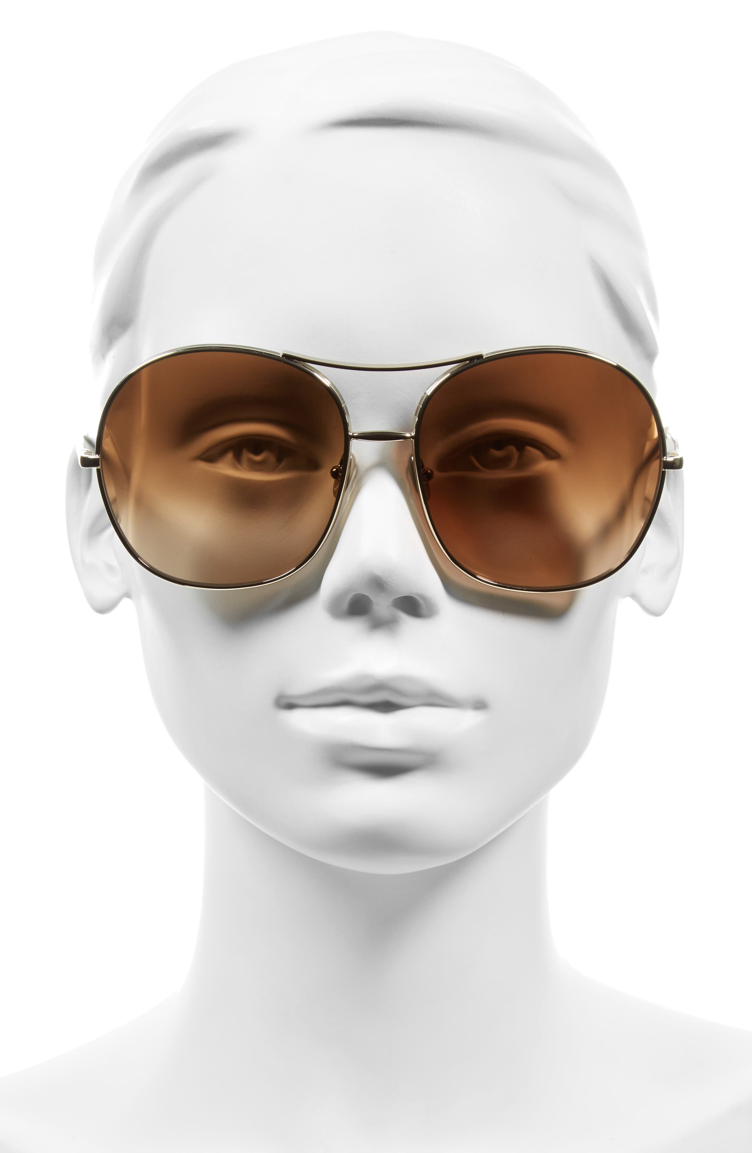 61mm Oversize Aviator Sunglasses,                             Alternate thumbnail 3, color,                             Gold/ Brown