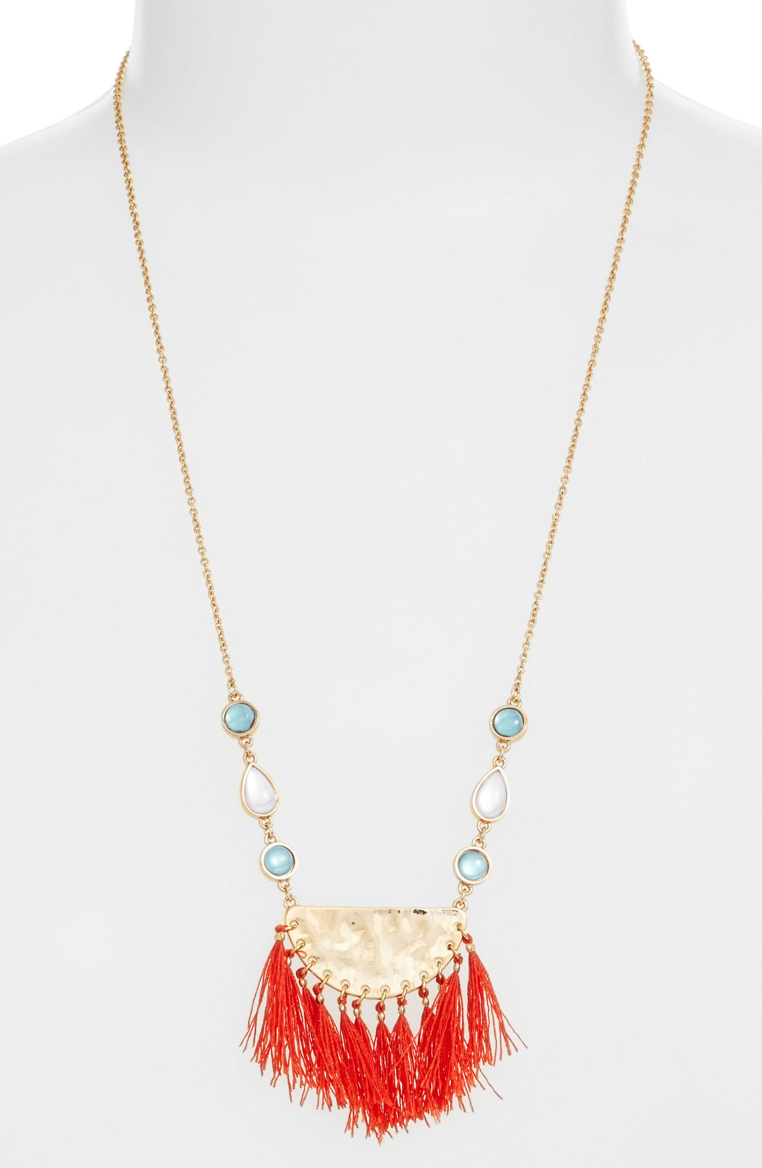 REBECCA MINKOFF Bead & Tassel Pendant Necklace