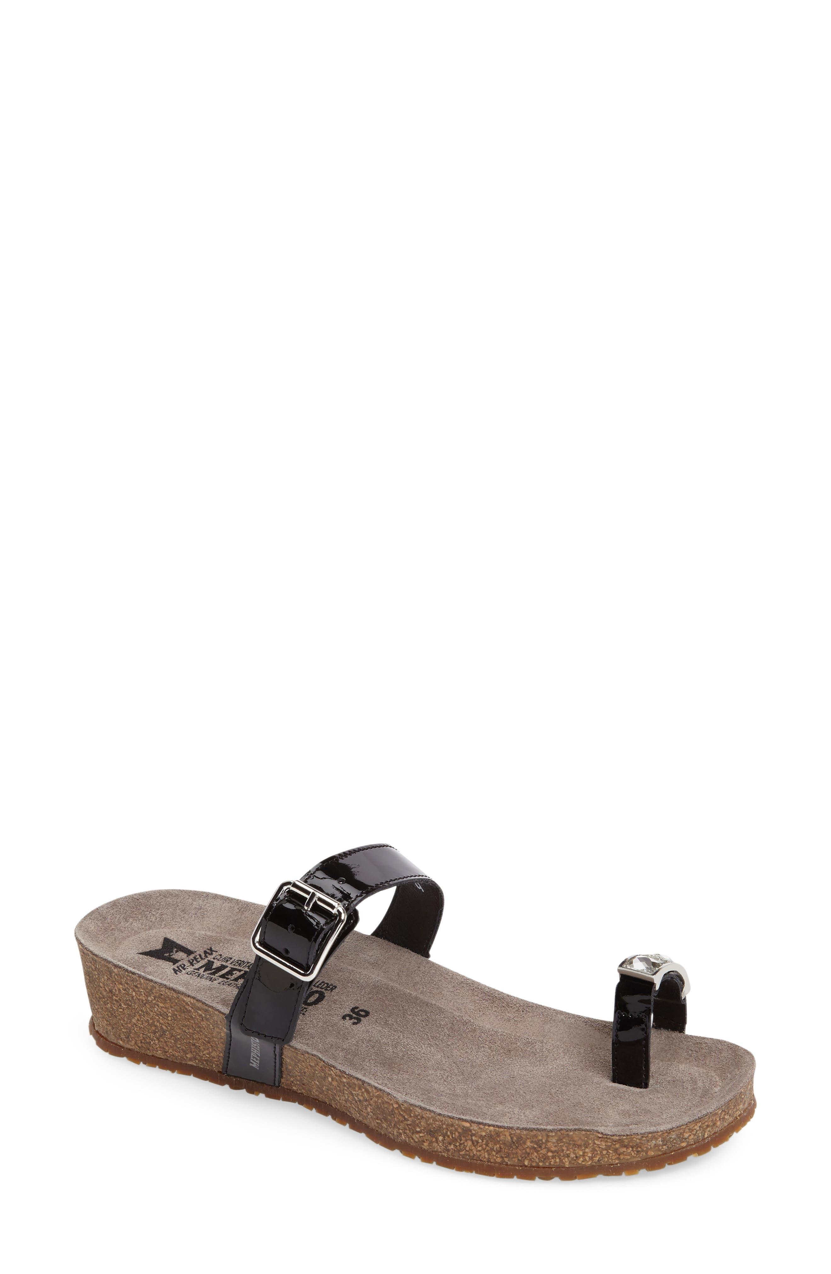 Ilaria Embellished Wedge Sandal,                             Main thumbnail 1, color,                             Black Patent Leather