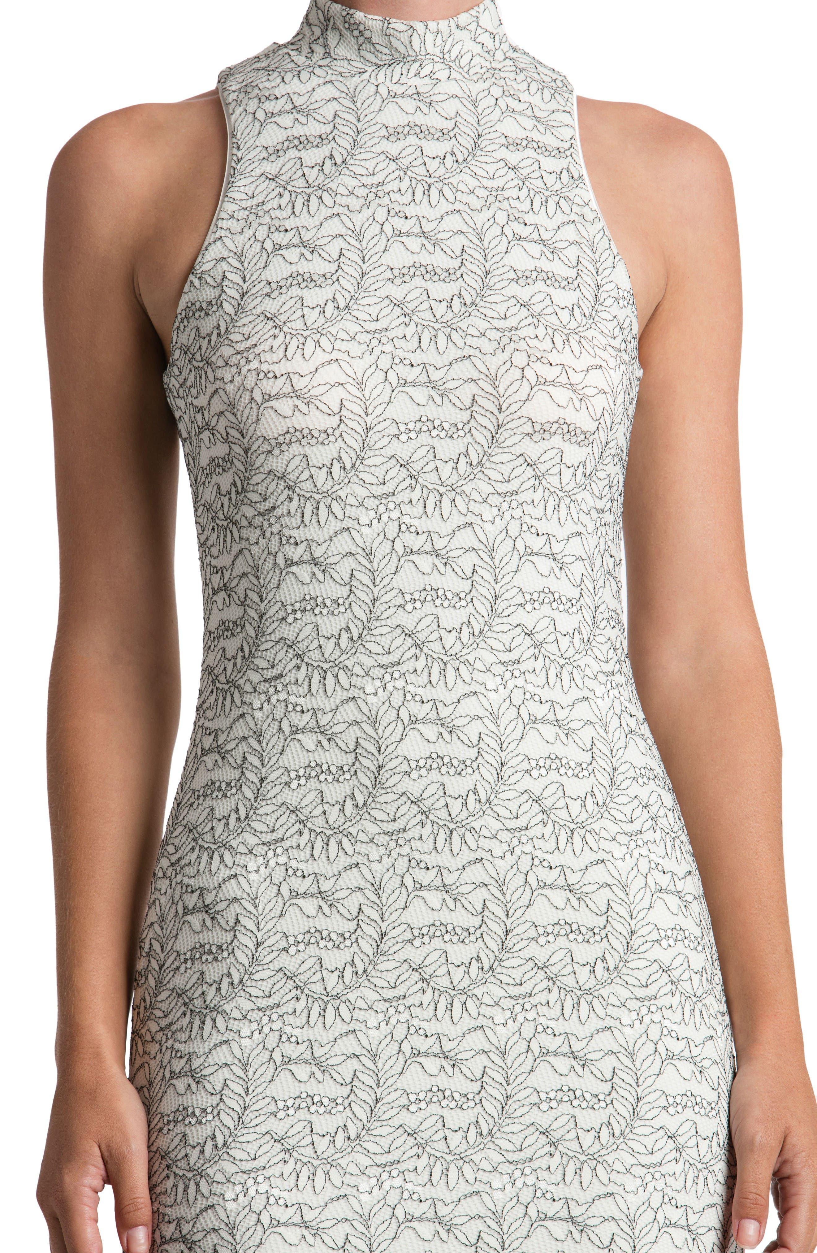 Norah Lace Midi Dress,                             Alternate thumbnail 4, color,                             Off White/ Black
