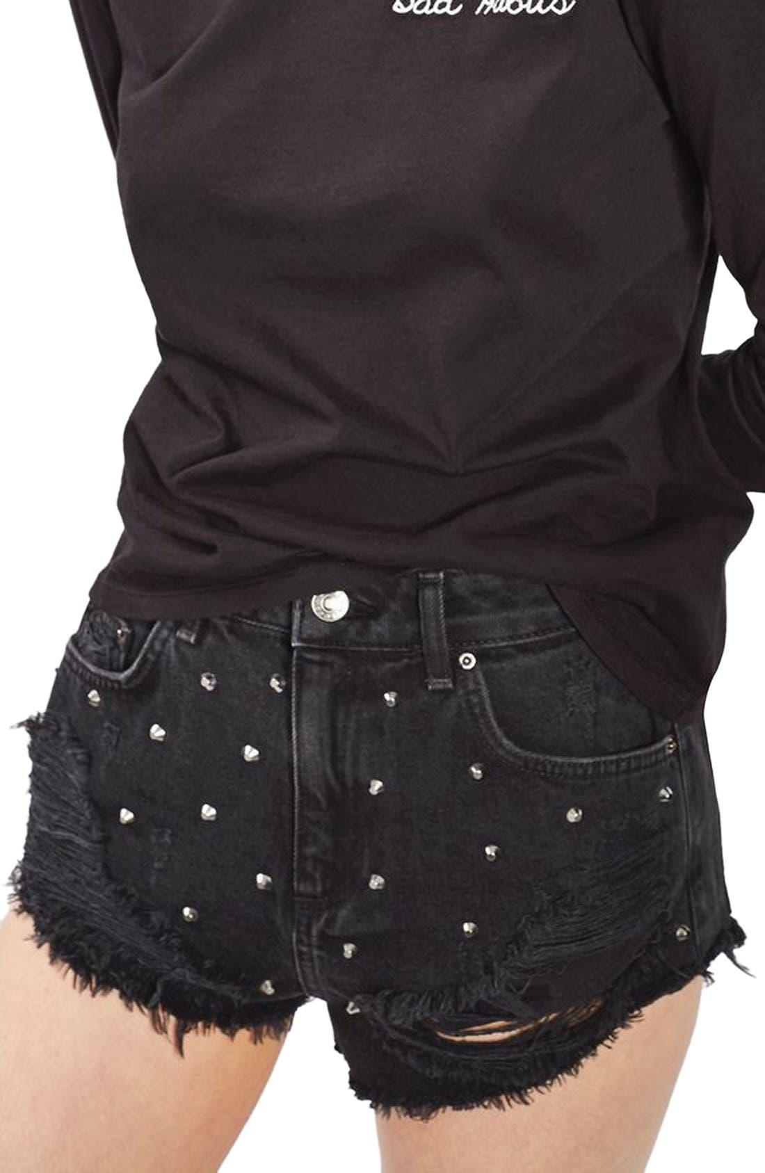 Main Image - Topshop Kiri Stud Ripped Denim Shorts