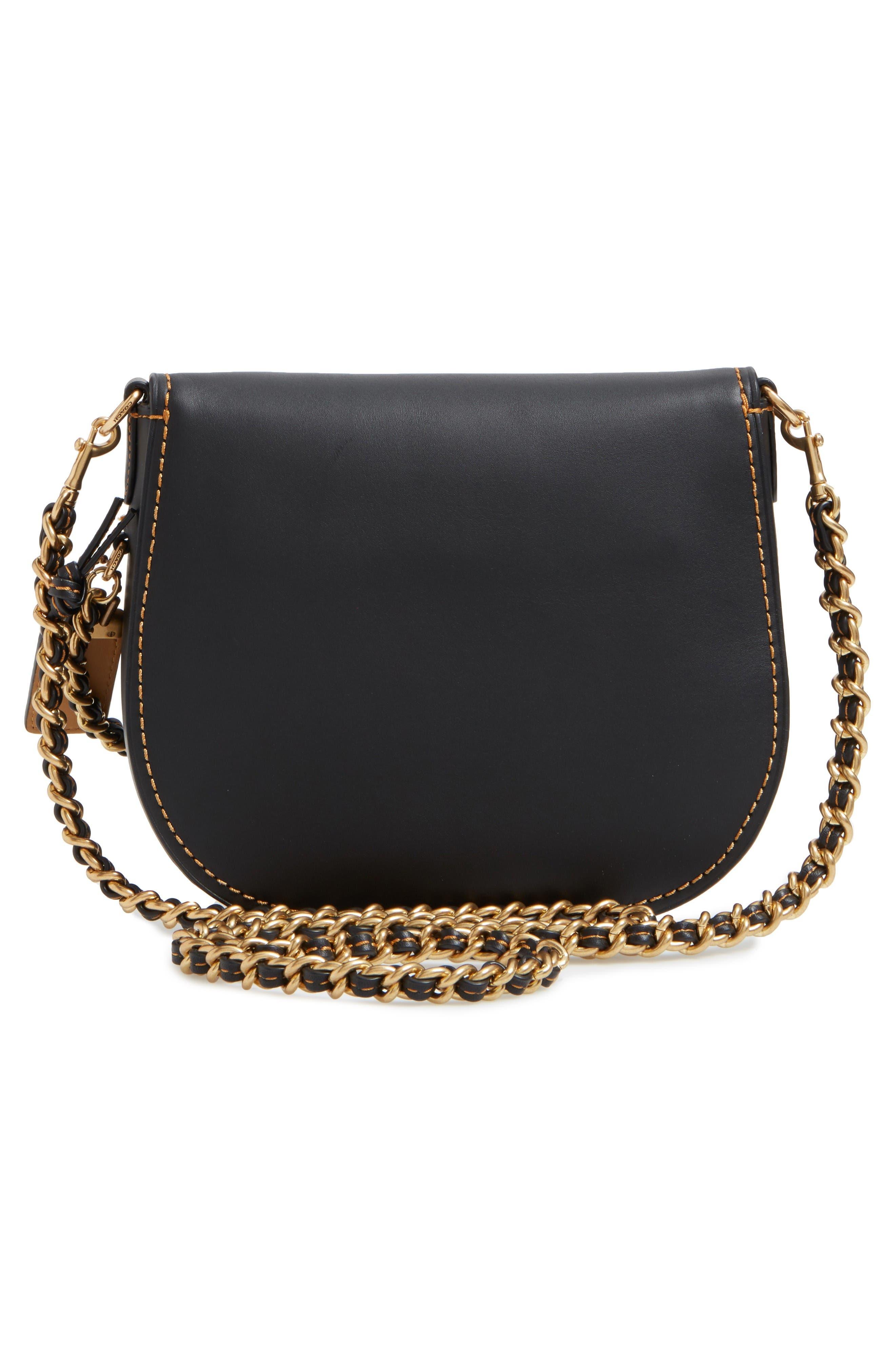 Leather Saddle Bag,                             Alternate thumbnail 2, color,                             Black