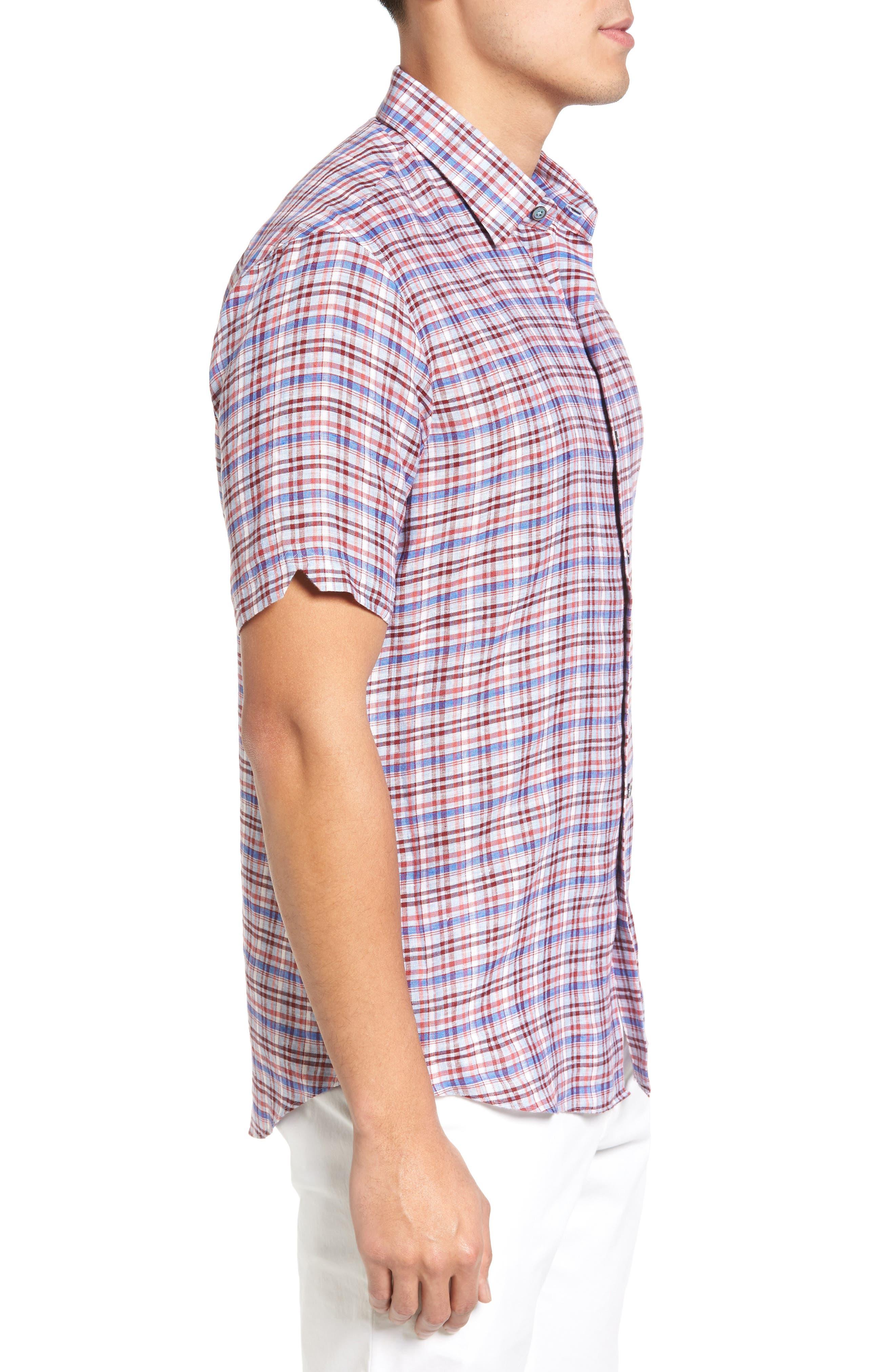Alternate Image 3  - Zachary Prell Bean Trim Fit Plaid Linen Sport Shirt