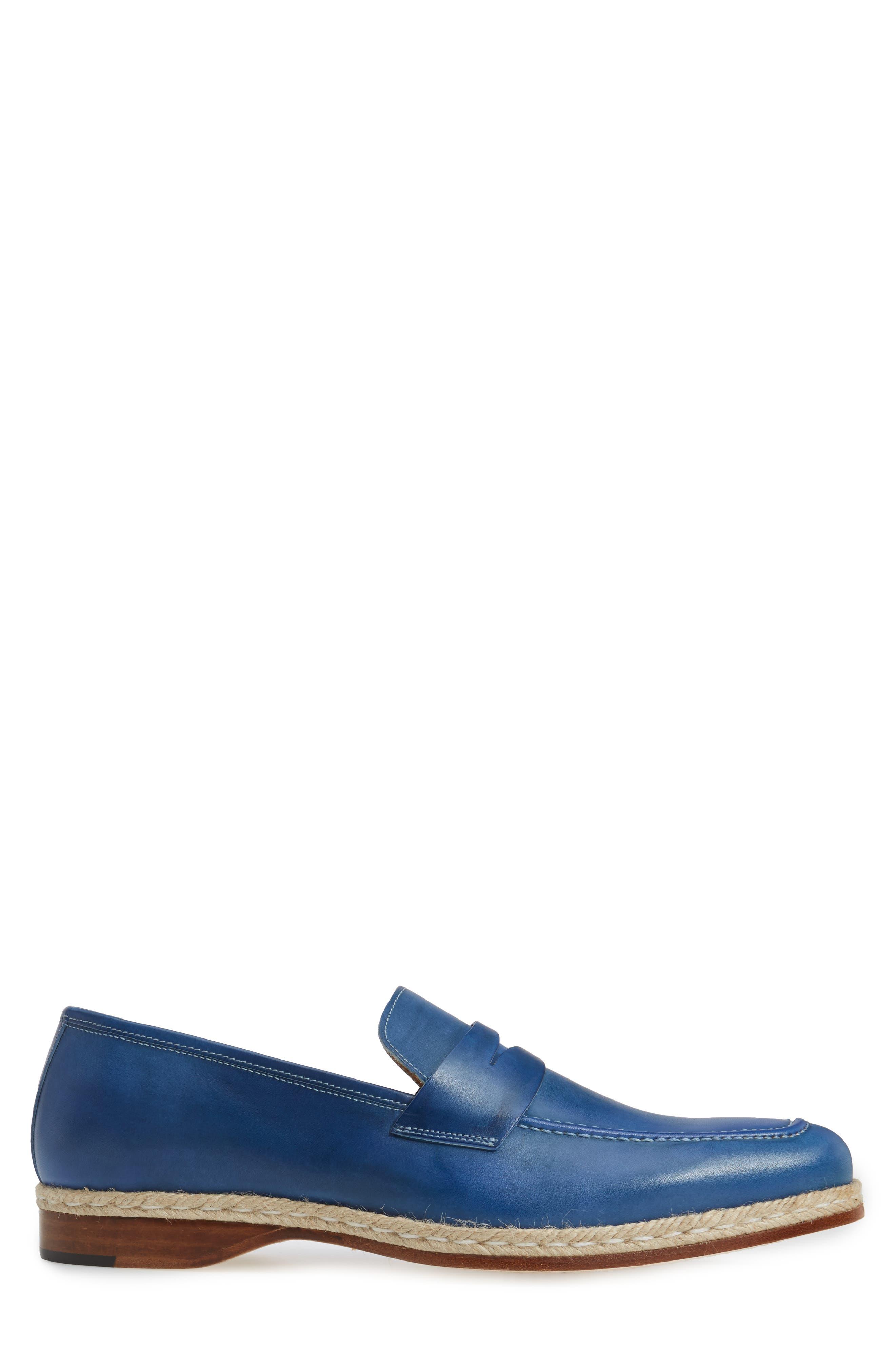 Battani Penny Loafer,                             Alternate thumbnail 3, color,                             Blue Leather