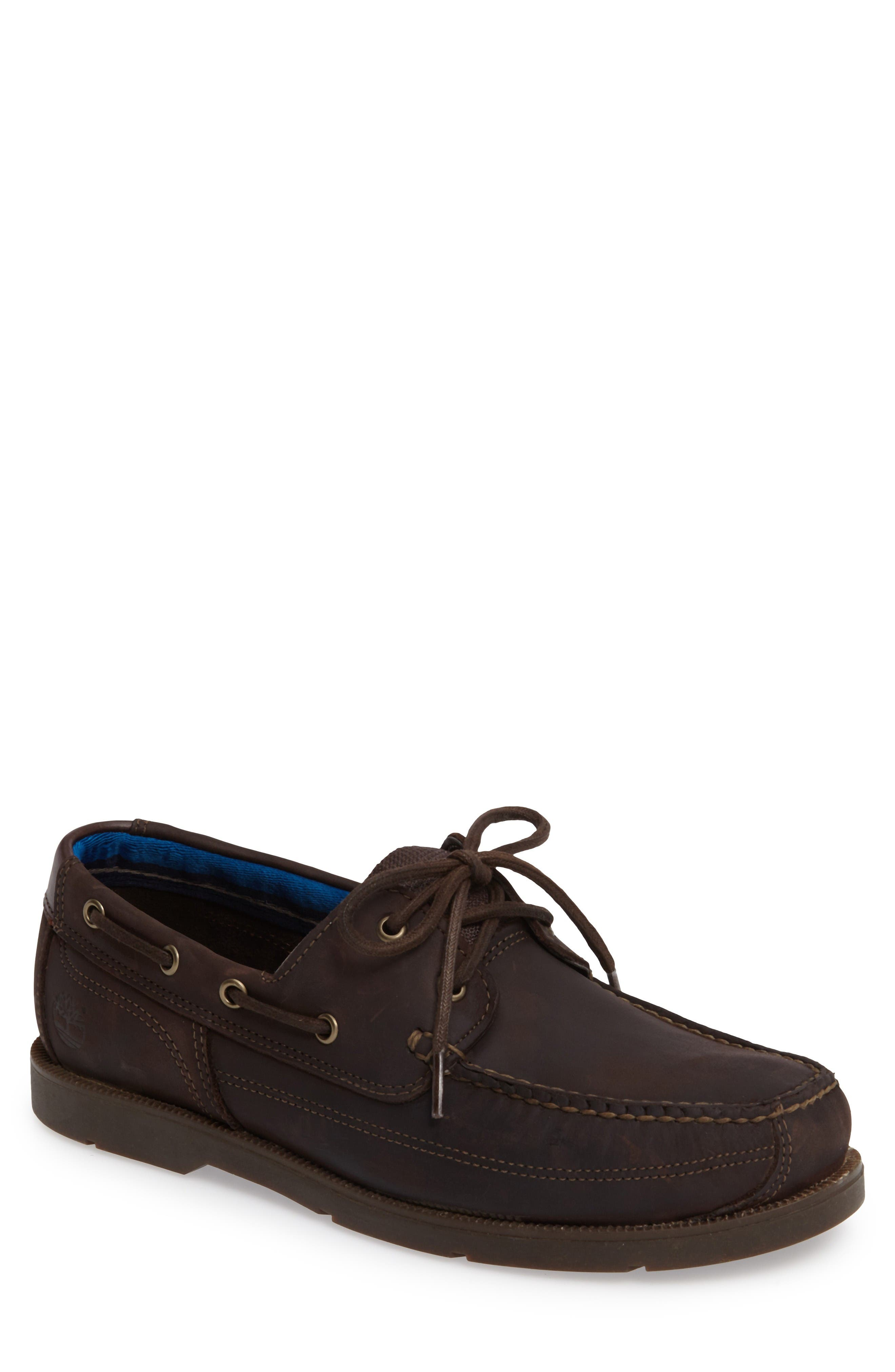 Piper Cove FG Boat Shoe,                         Main,                         color, Chocolate Leather