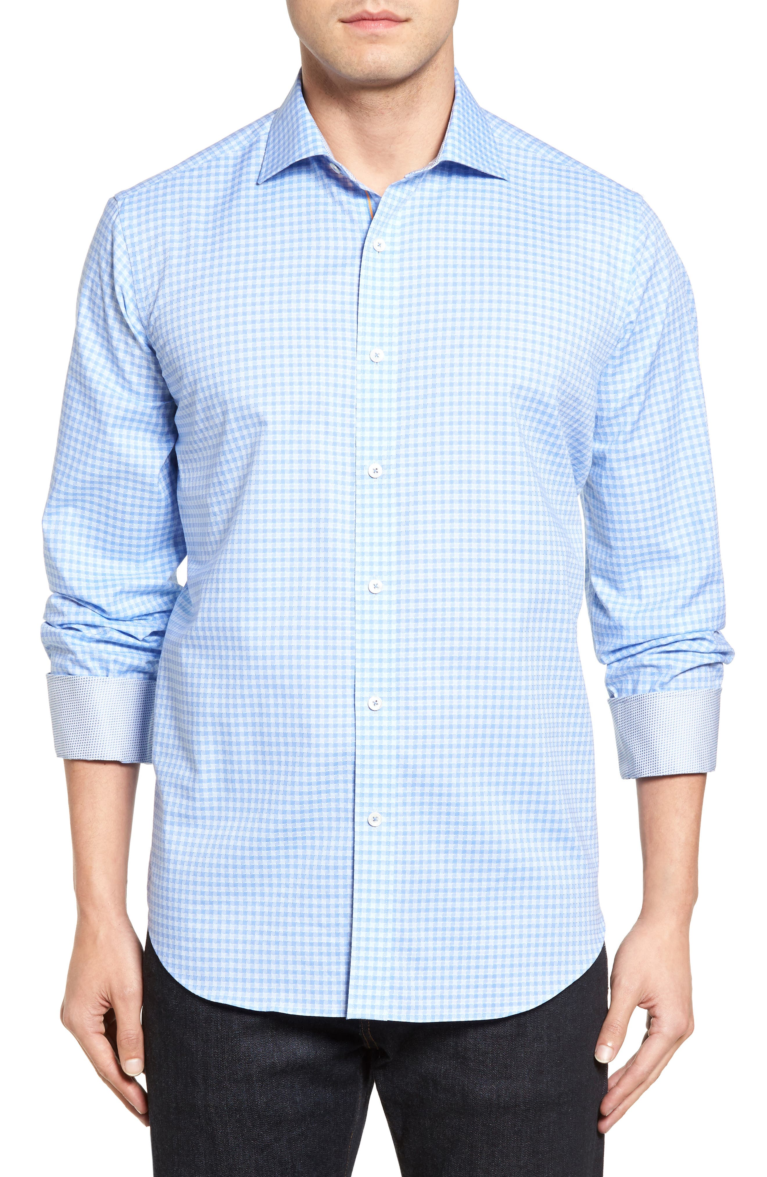 Classic Fit Circle Check Sport Shirt,                         Main,                         color, Air Blue