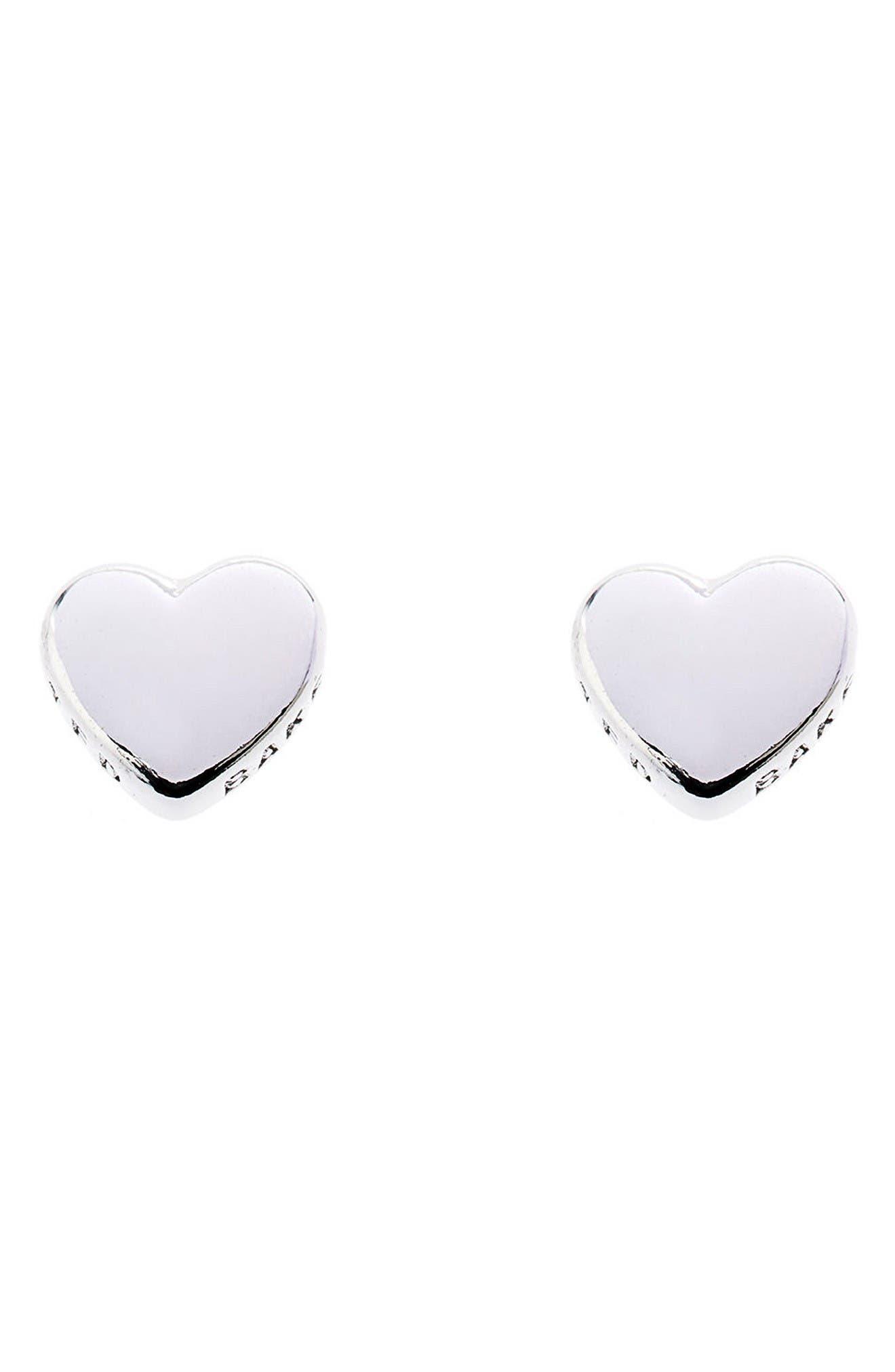 Sweetheart Stud Earrings,                             Main thumbnail 1, color,                             Silver Color