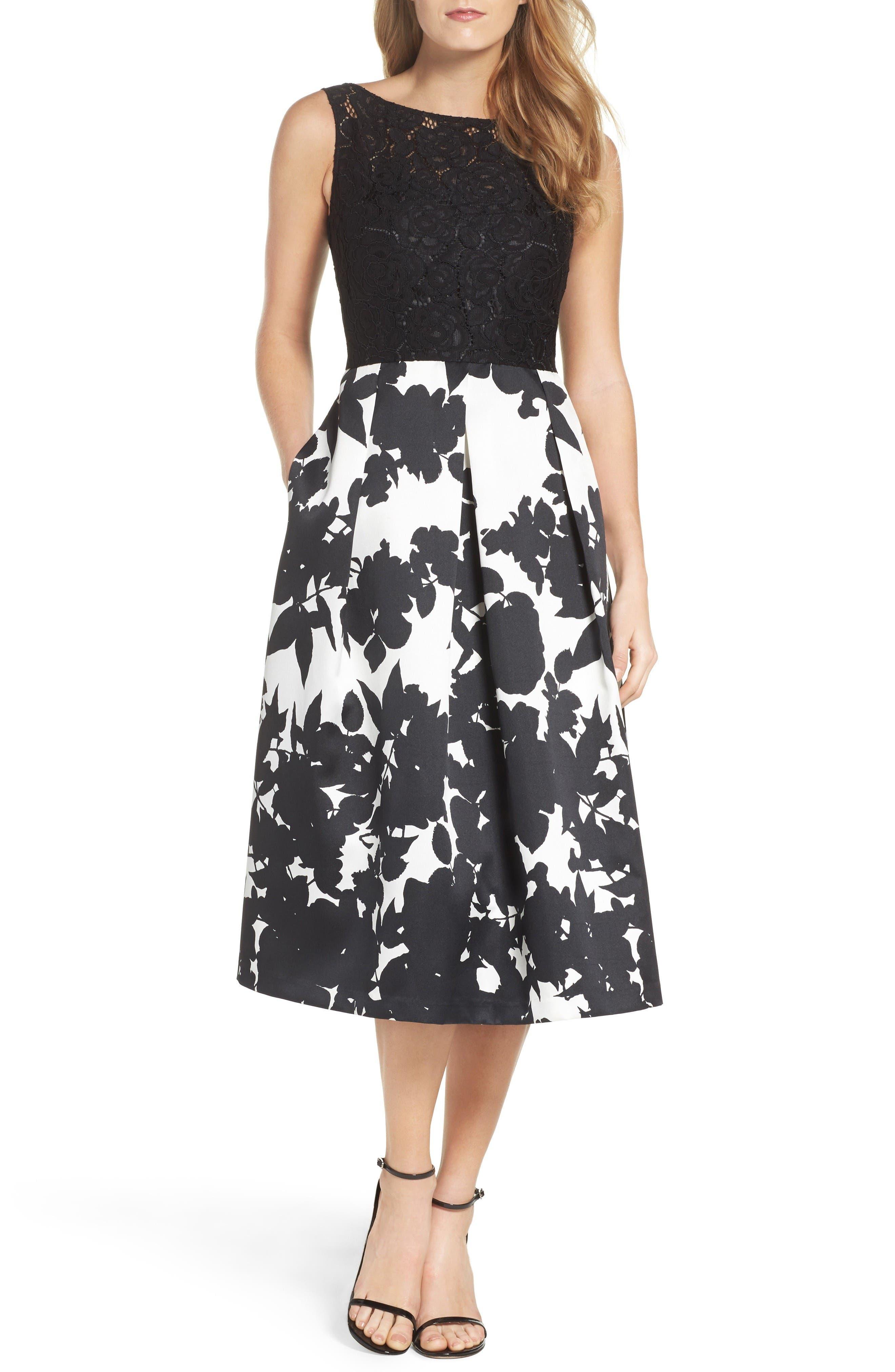 Ellen Tracy Lace & Floral Faille Midi Dress