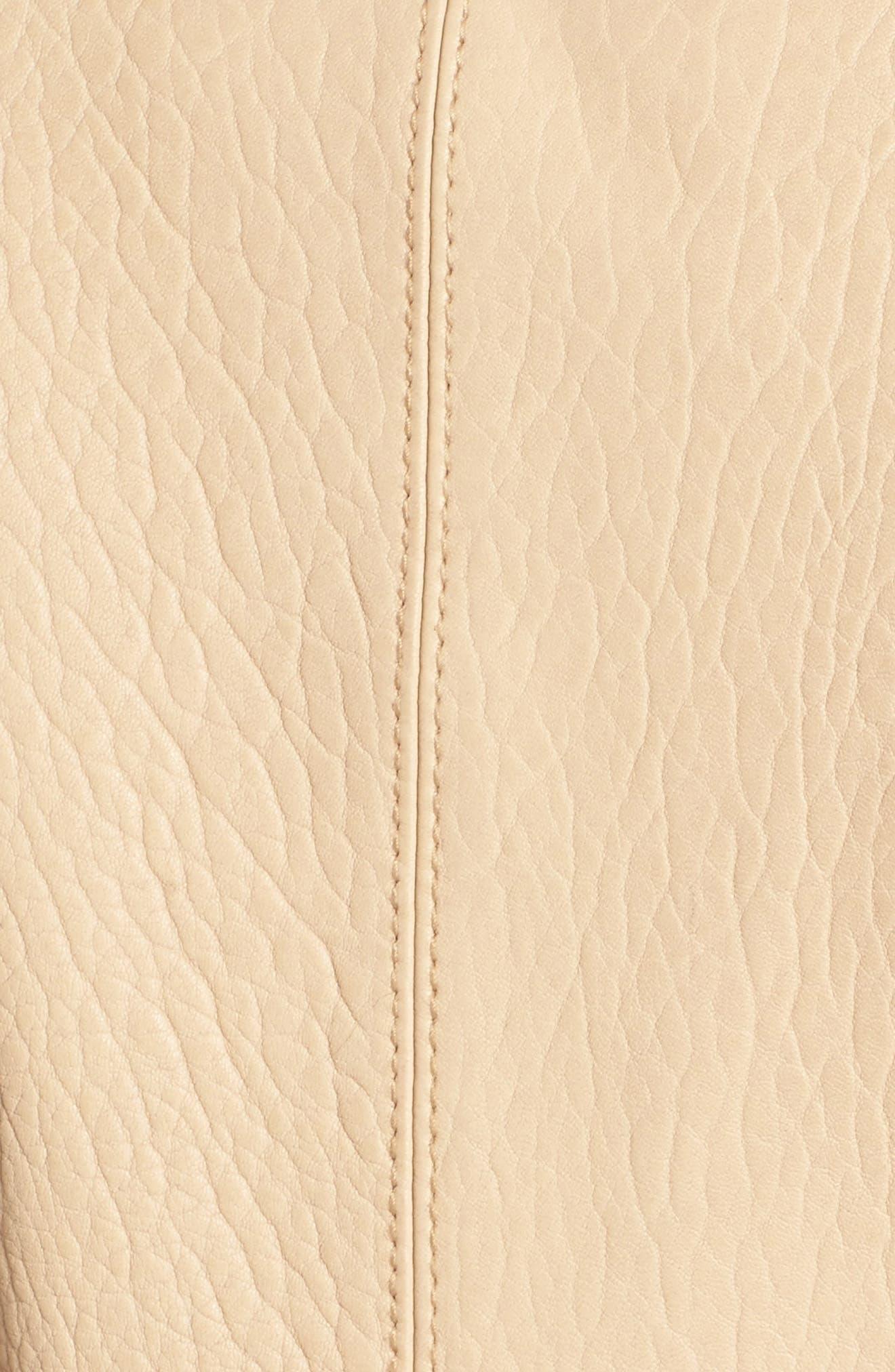 Leather Moto Jacket,                             Alternate thumbnail 5, color,                             Butter