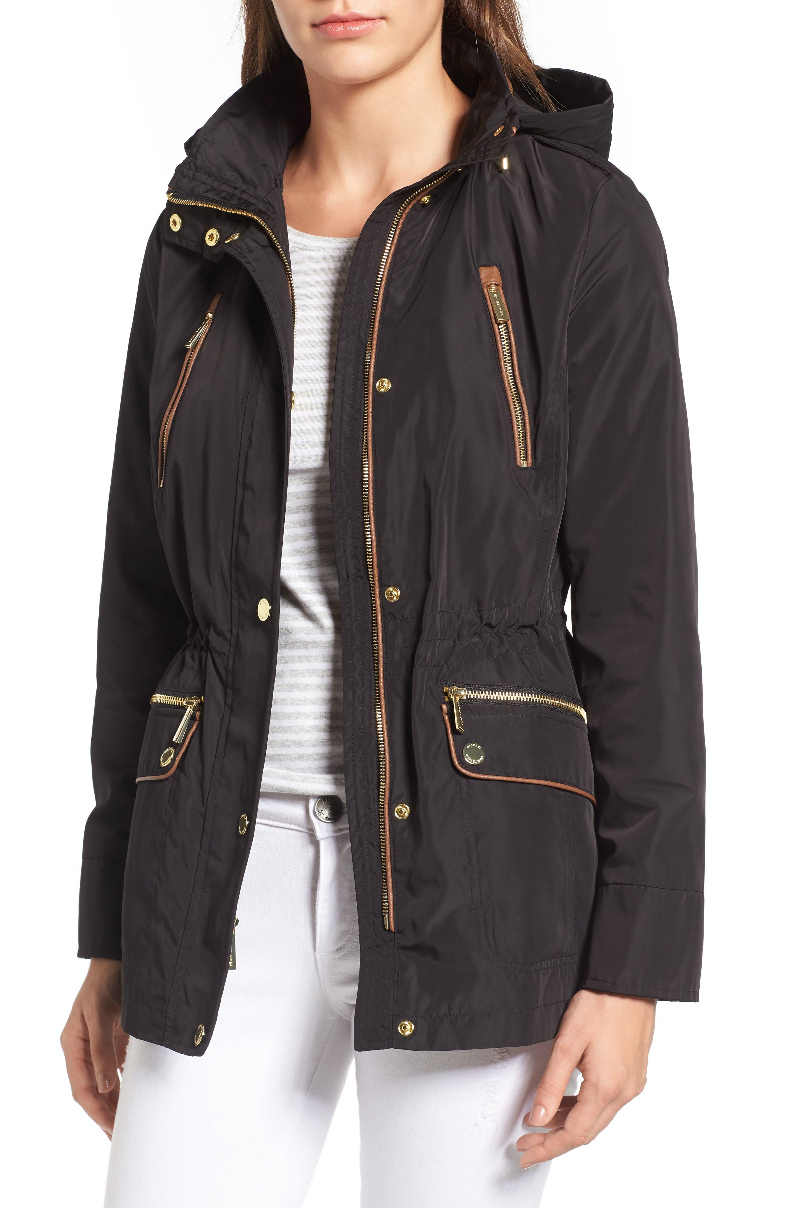 Main Image - MICHAEL Michael Kors Faux Leather Trim Anorak