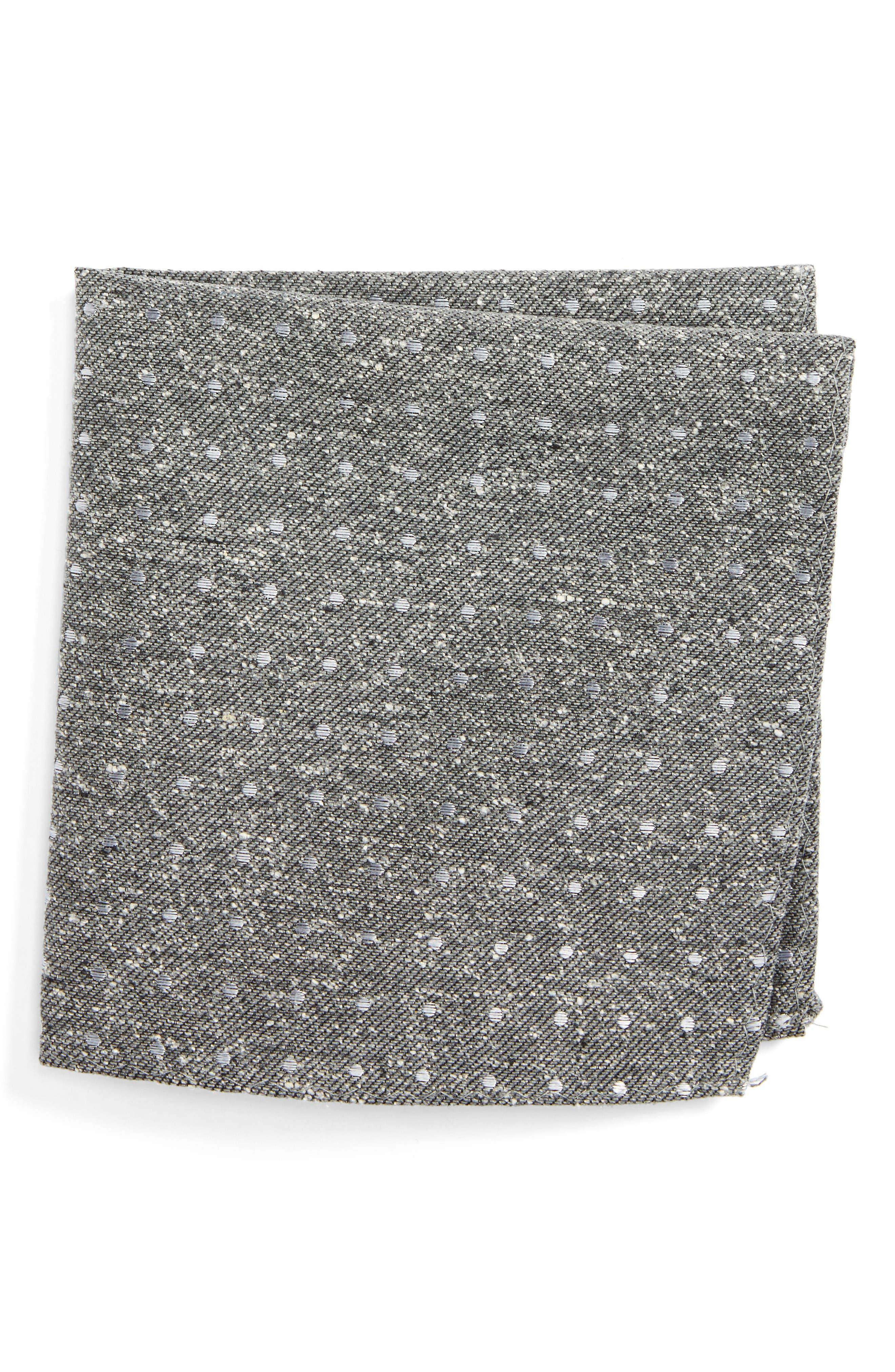 Knotted Dots Silk Pocket Square,                             Main thumbnail 1, color,                             Grey