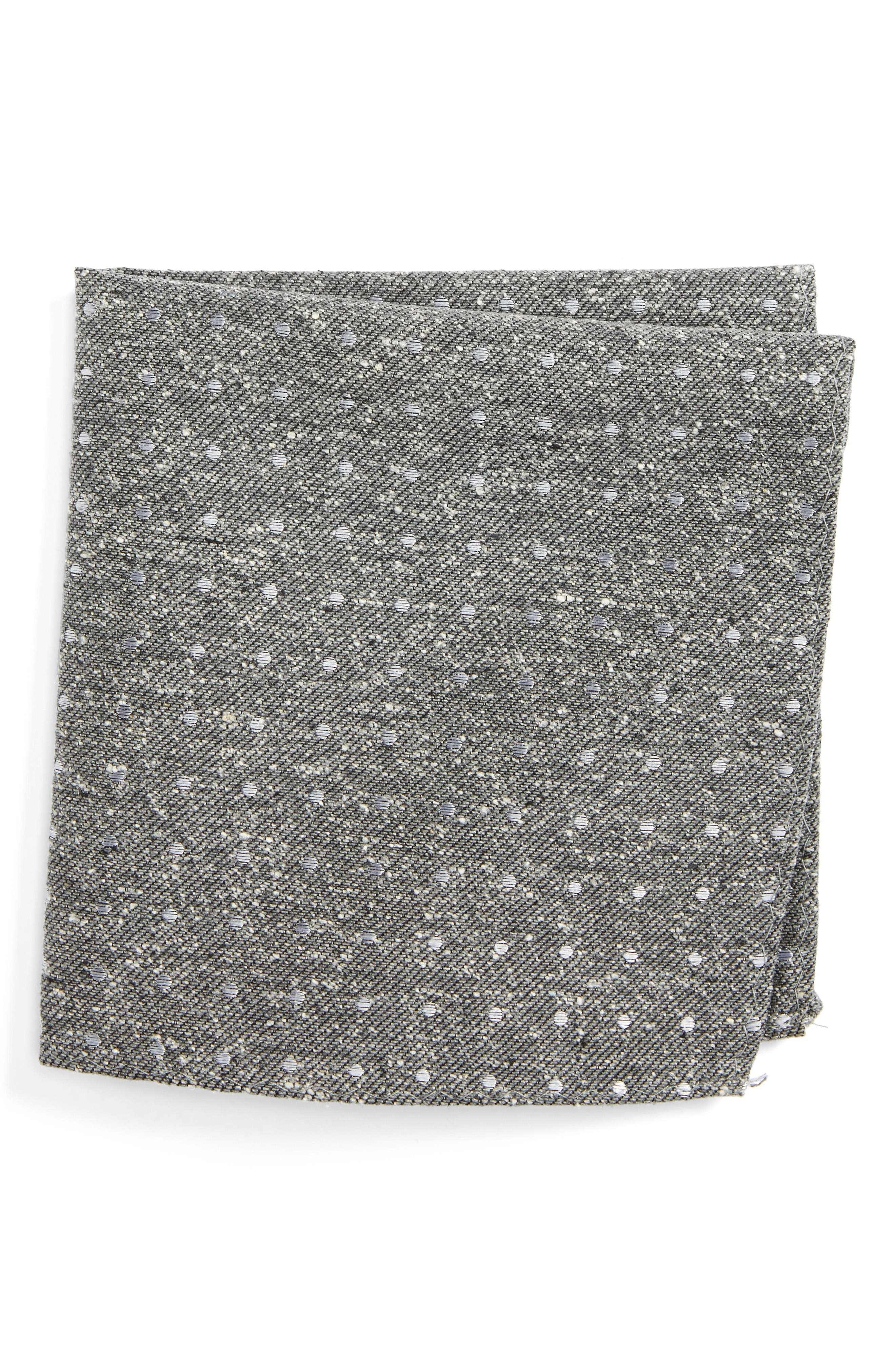 Knotted Dots Silk Pocket Square,                         Main,                         color, Grey