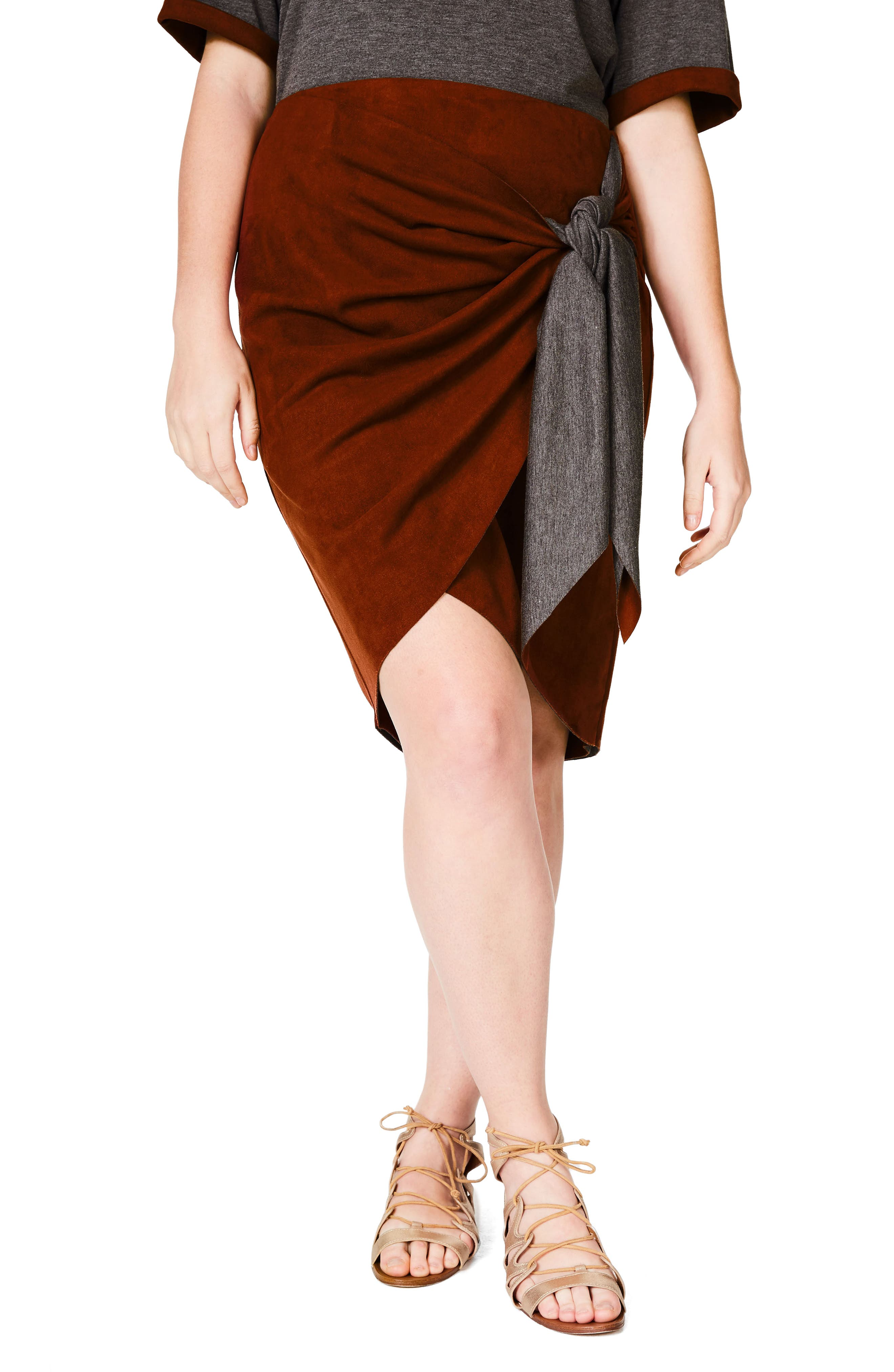 ELVI Faux Suede Skirt (Plus Size)