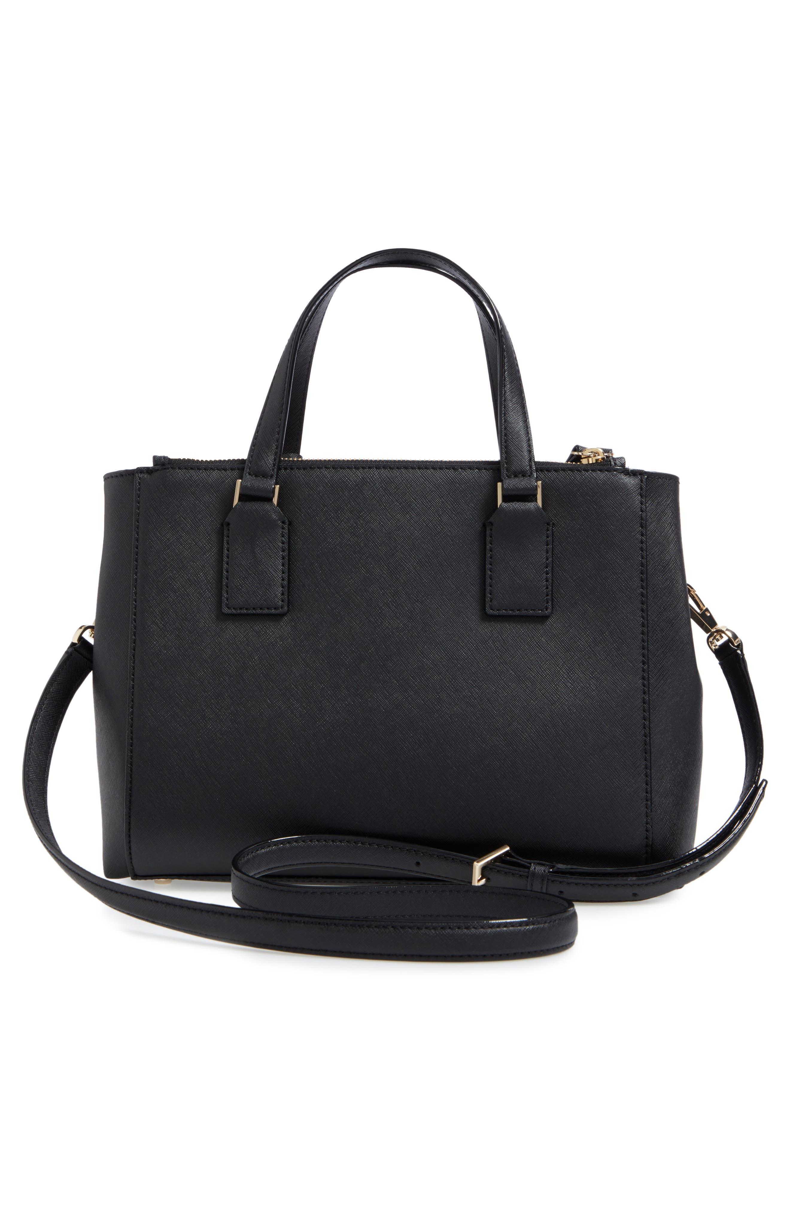 cameron street - teegan calfskin leather satchel,                             Alternate thumbnail 3, color,                             Black