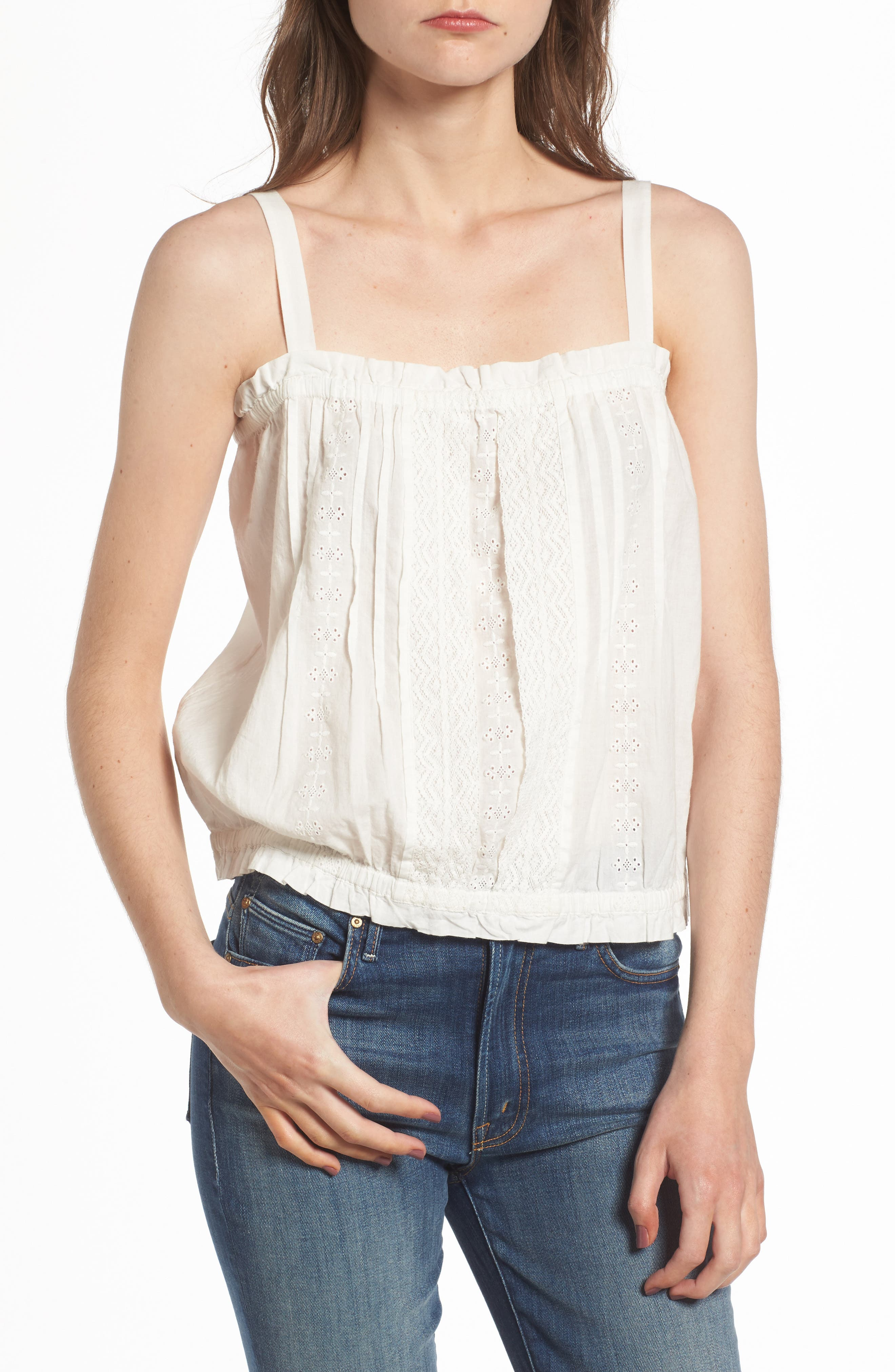 The Lace Cotton Tank,                             Main thumbnail 1, color,                             Star White