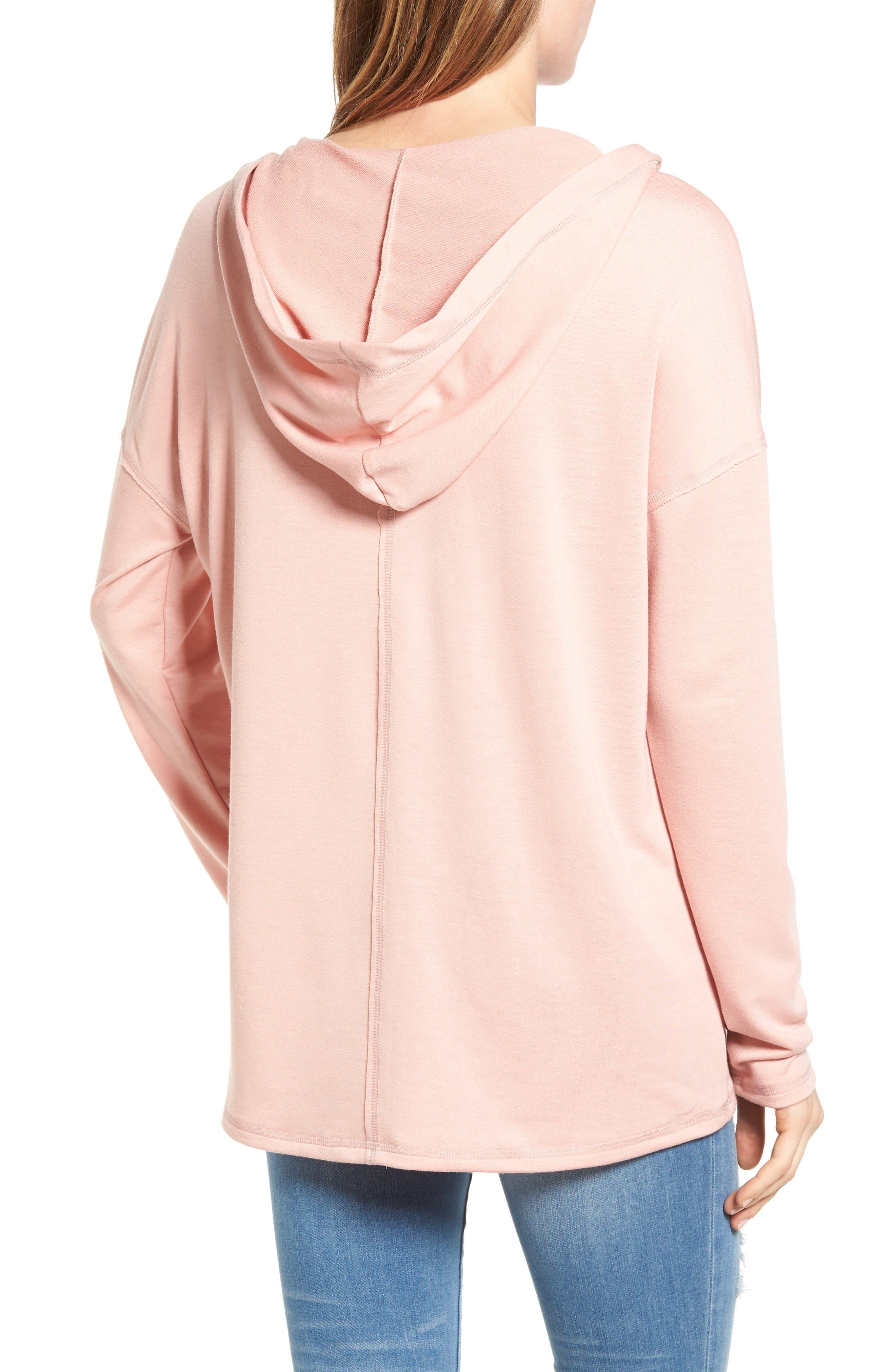 Alternate Image 2  - Caslon® Lace-Up Hooded Sweatshirt (Regular & Petite)