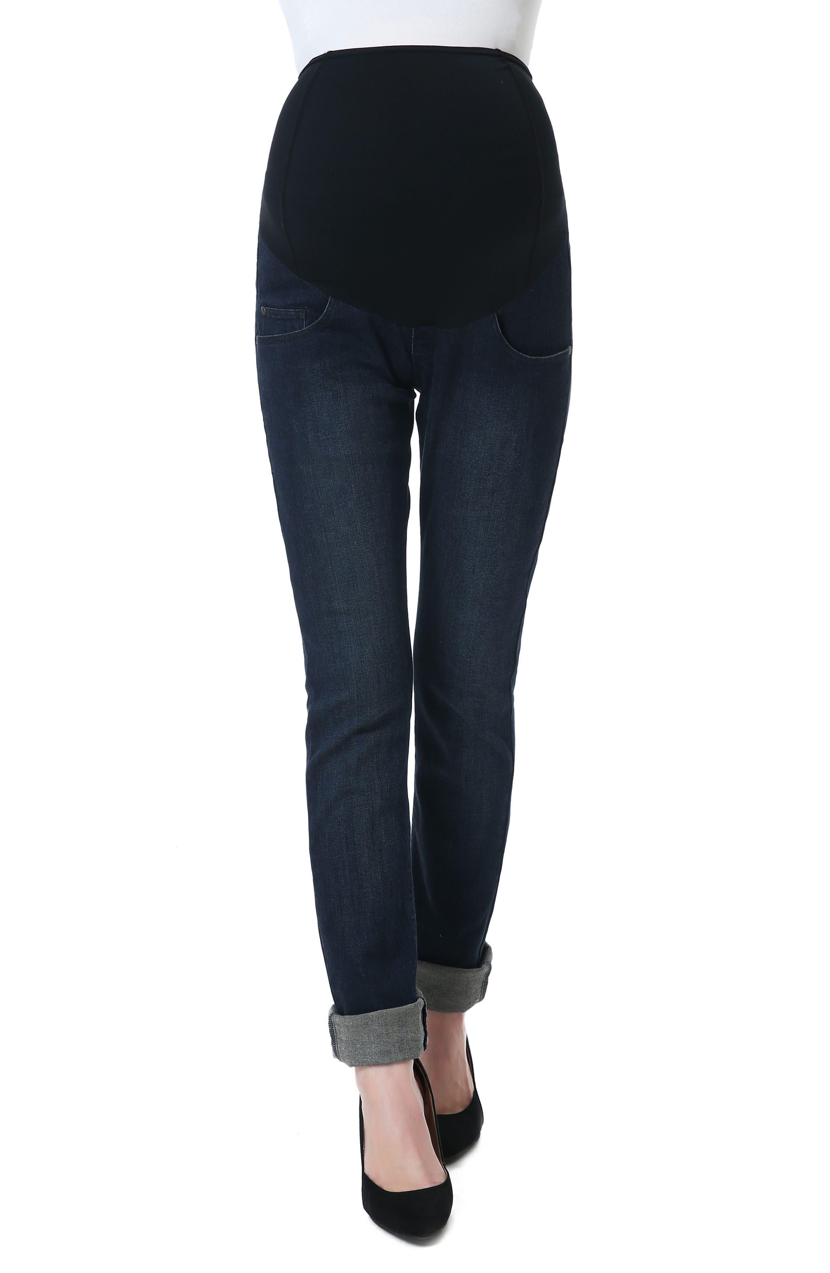 Frankie Straight Leg Maternity Jeans,                         Main,                         color, Dark Indigo