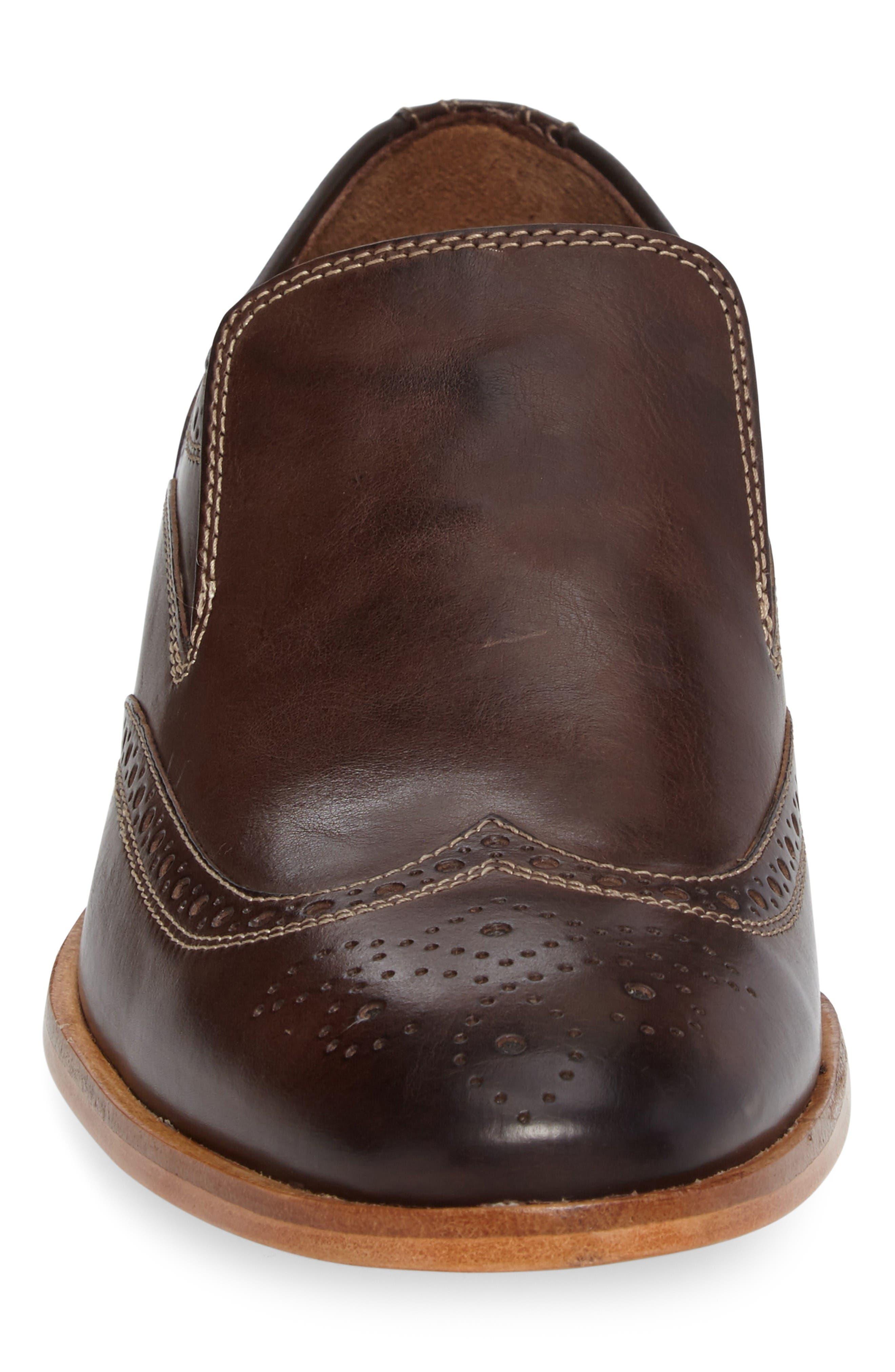 Graham Wingtip Loafer,                             Alternate thumbnail 4, color,                             Dark Brown Calfskin Leather